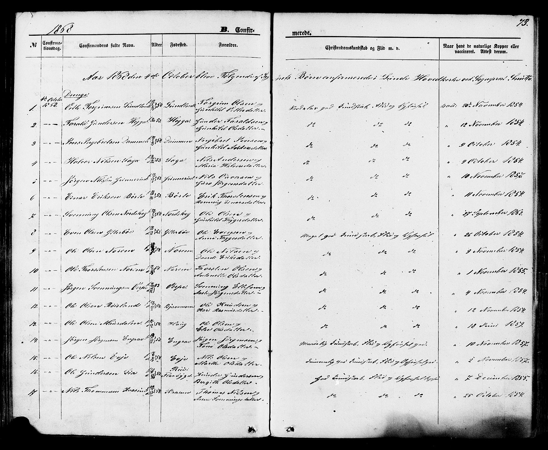 SAKO, Lunde kirkebøker, F/Fa/L0001: Ministerialbok nr. I 1, 1866-1883, s. 73