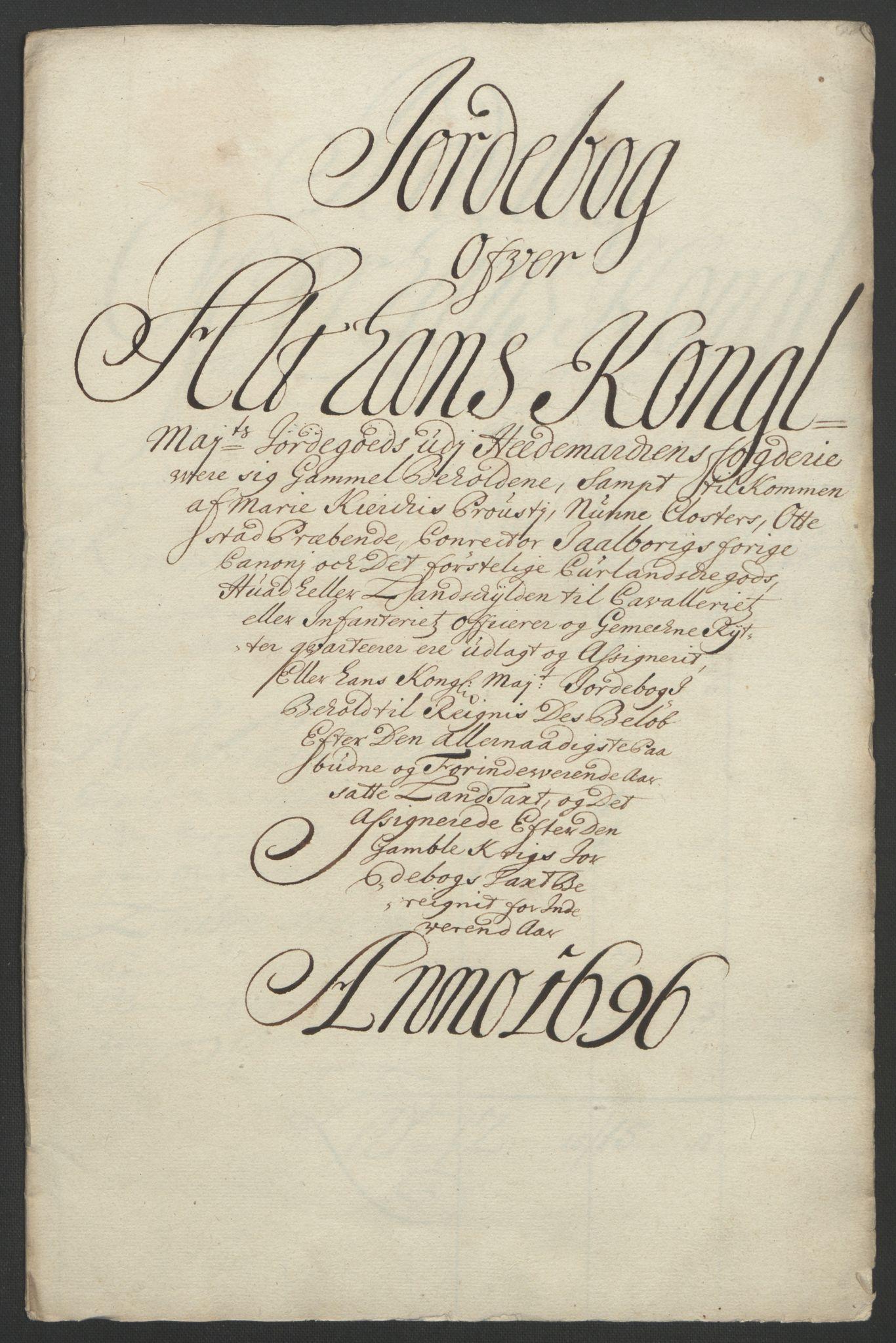 RA, Rentekammeret inntil 1814, Reviderte regnskaper, Fogderegnskap, R16/L1036: Fogderegnskap Hedmark, 1695-1696, s. 292