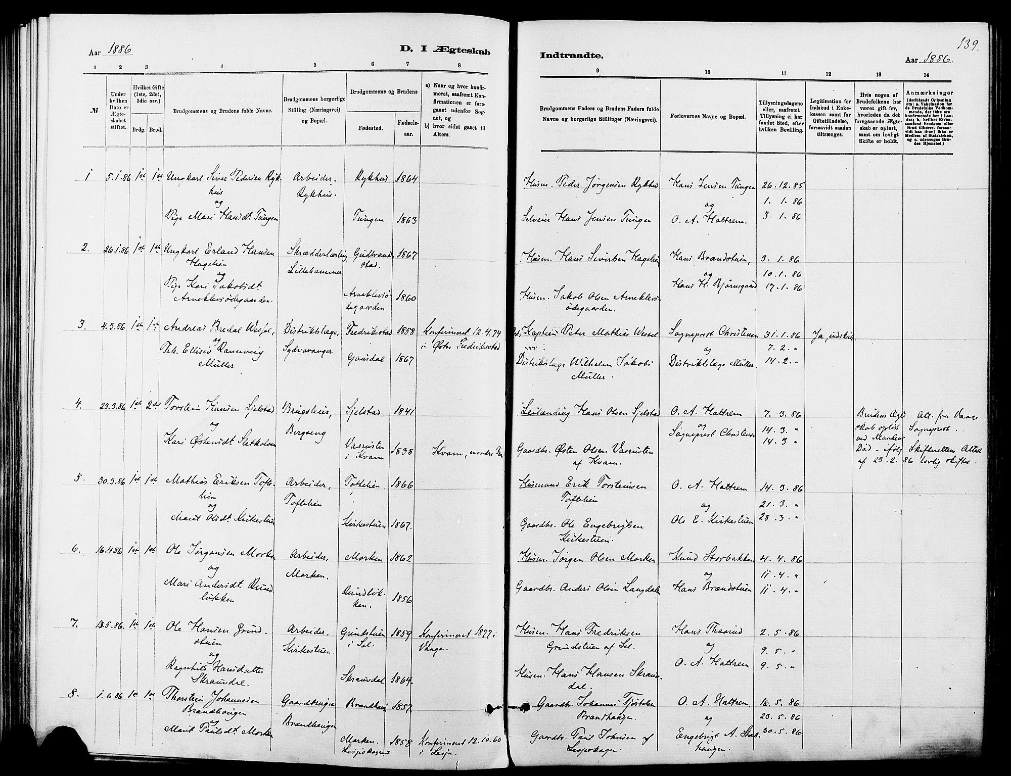 SAH, Dovre prestekontor, Ministerialbok nr. 2, 1879-1890, s. 139