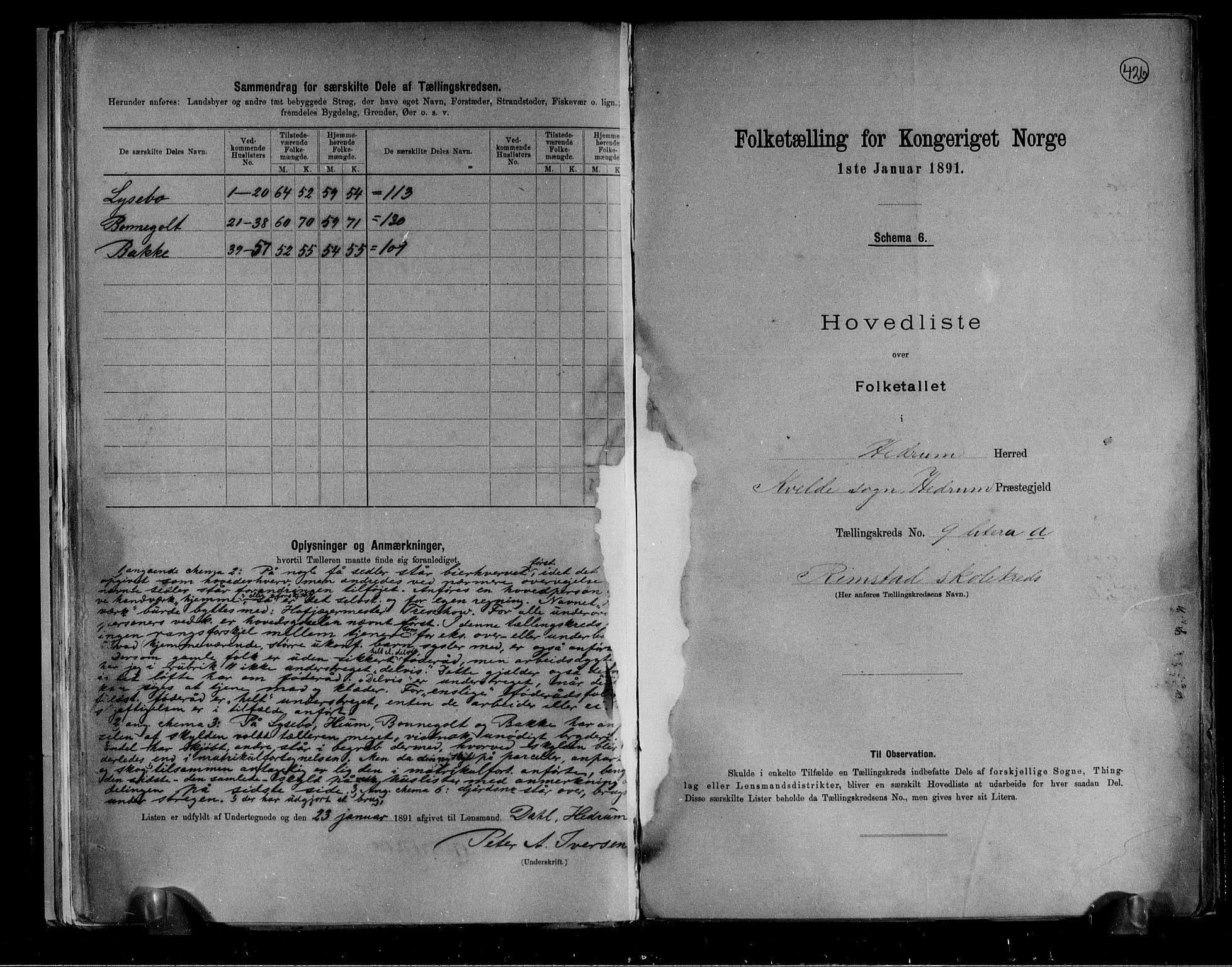 RA, Folketelling 1891 for 0727 Hedrum herred, 1891, s. 22