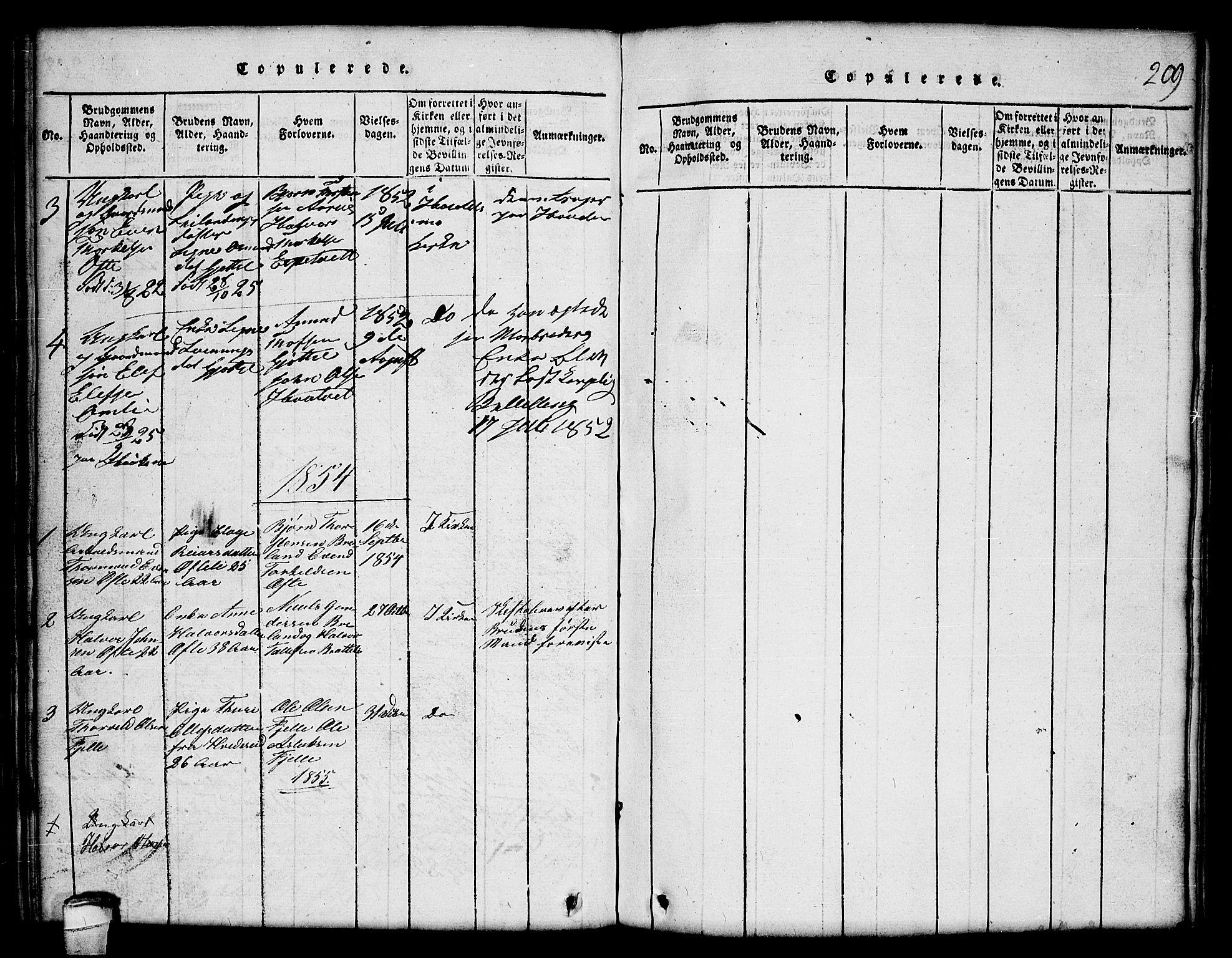 SAKO, Lårdal kirkebøker, G/Gc/L0001: Klokkerbok nr. III 1, 1815-1854, s. 209