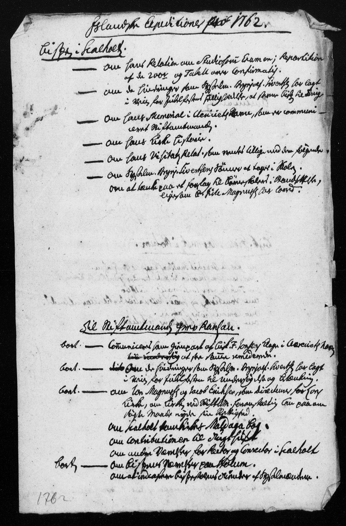 DRA, Generalkirkeinspektionskollegiet, F4-04/F4-04-02: Deliberation, koncepter og ekstrakter, 1754-1762