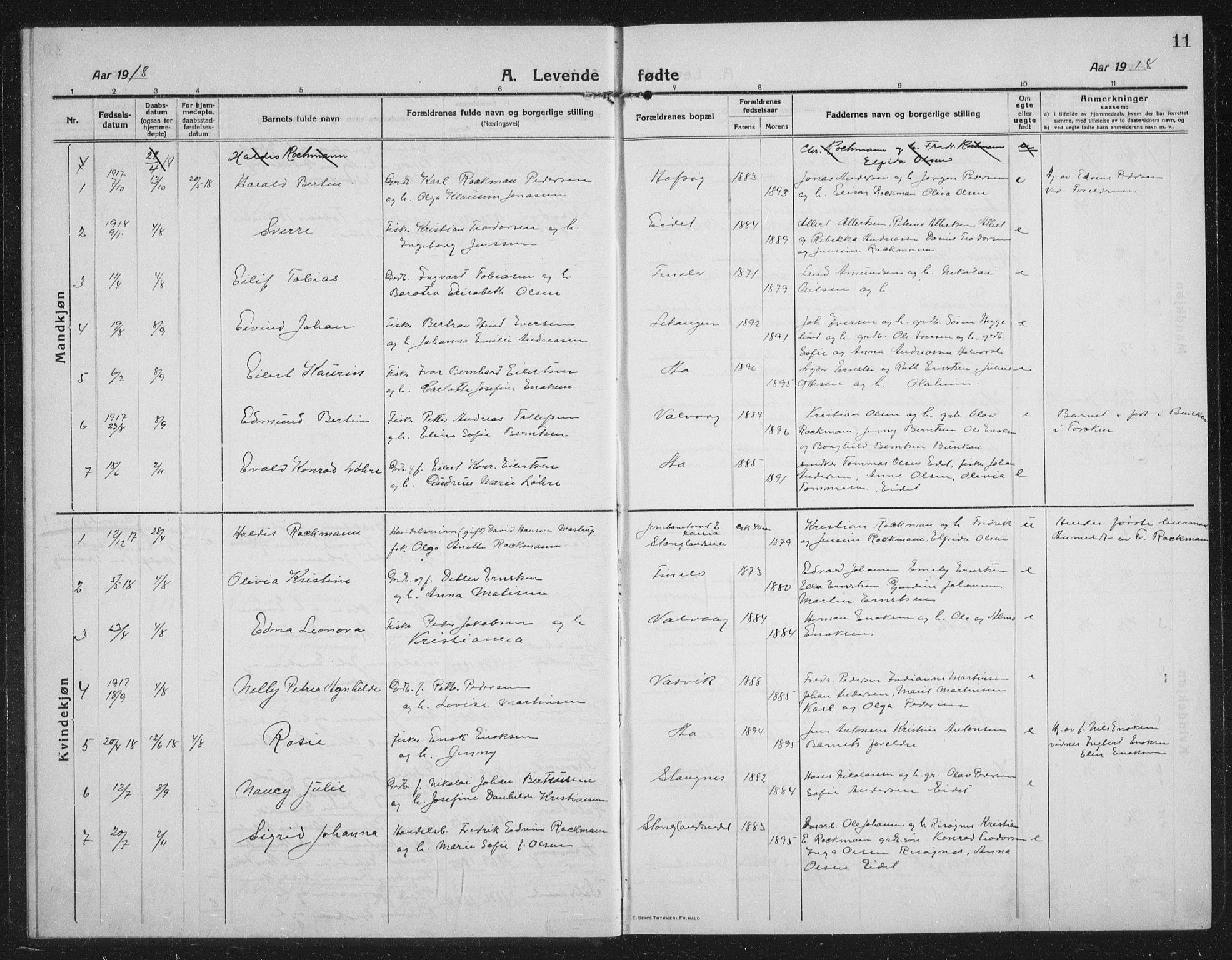 SATØ, Tranøy sokneprestkontor, I/Ia/Iab/L0019klokker: Klokkerbok nr. 19, 1914-1940, s. 11
