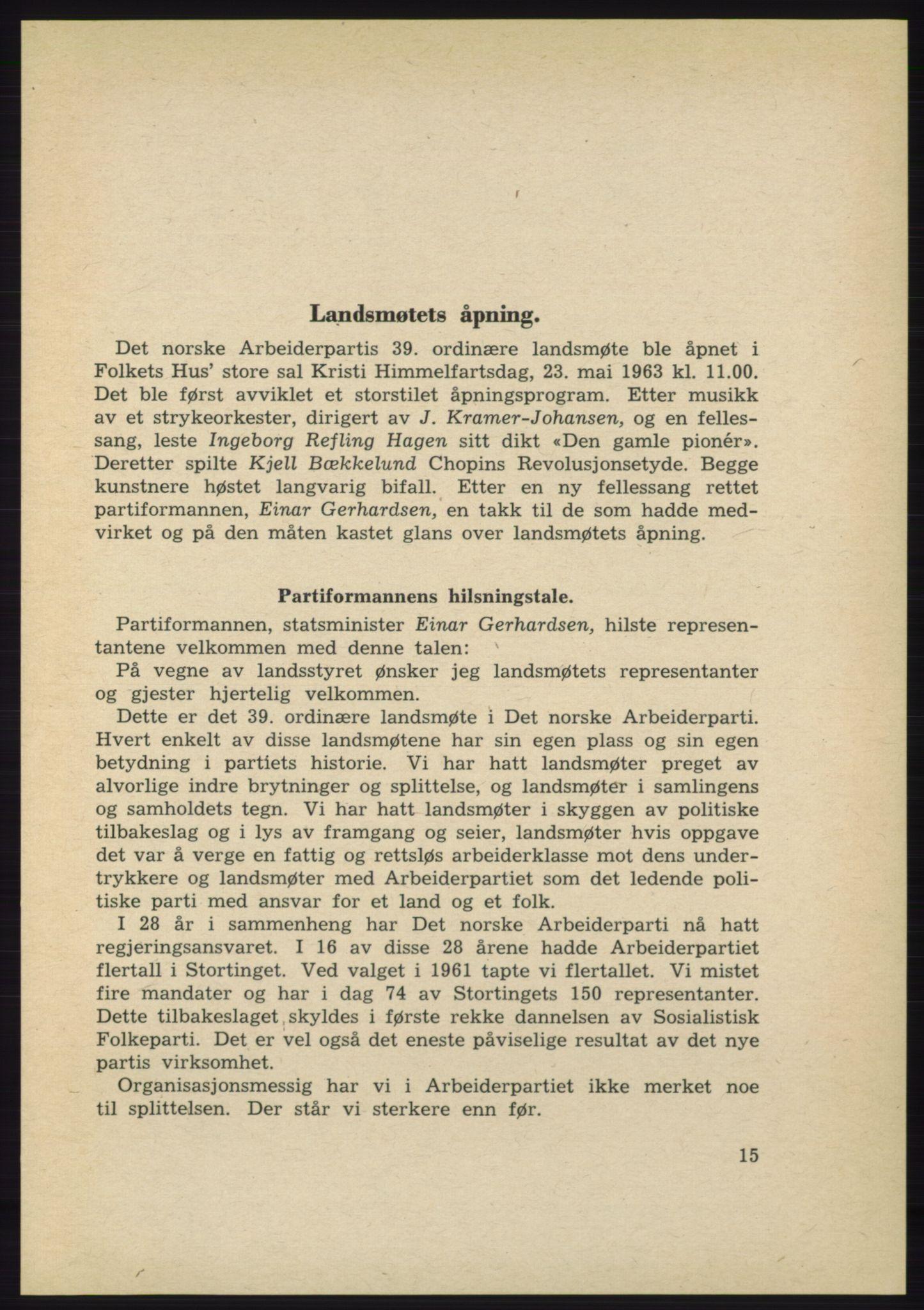 AAB, Det norske Arbeiderparti - publikasjoner, -/-: Protokoll over forhandlingene på det 39. ordinære landsmøte 23.-25. mai 1963 i Oslo, 1963, s. 15