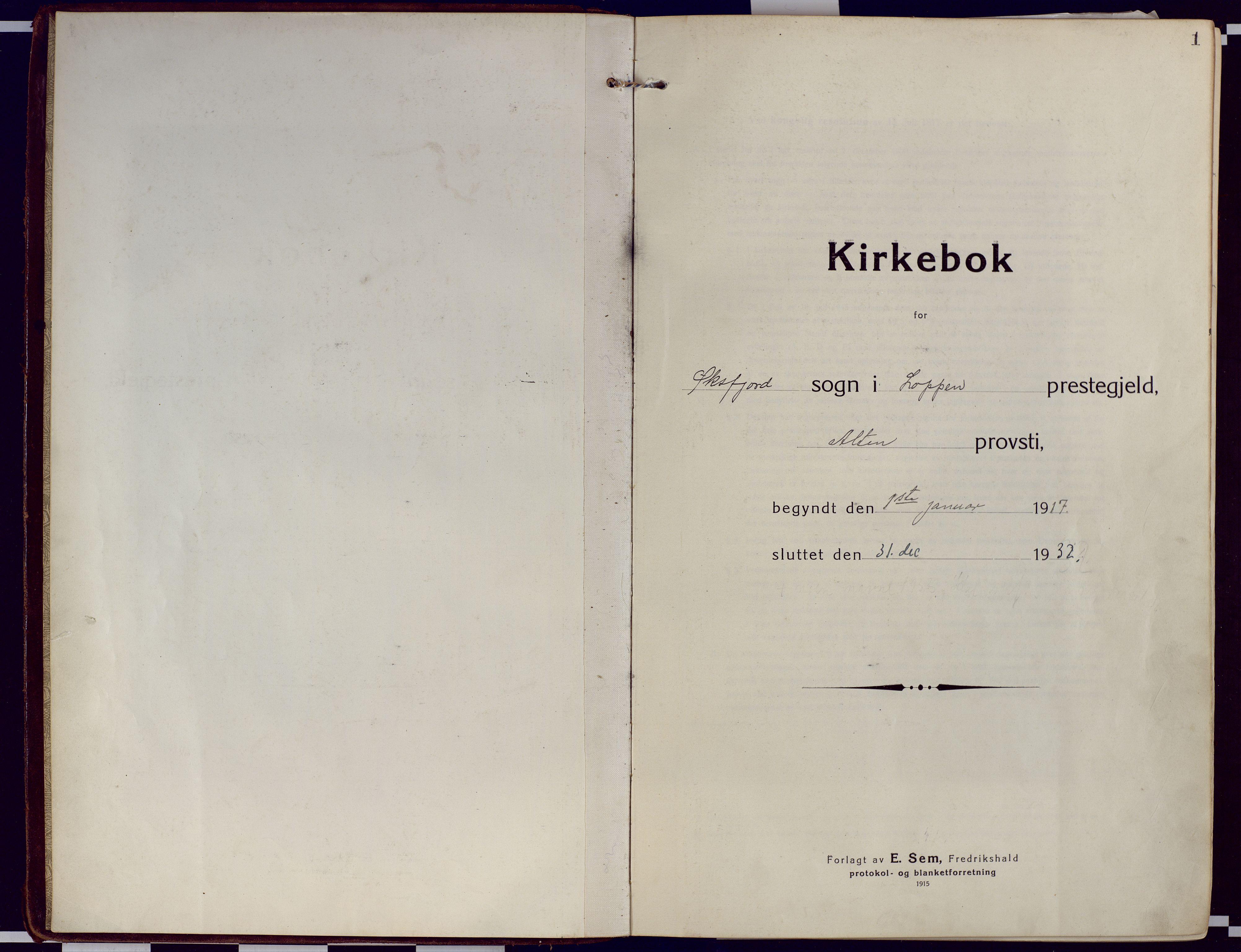SATØ, Loppa sokneprestkontor, H/Ha/L0012kirke: Ministerialbok nr. 12, 1917-1932, s. 1