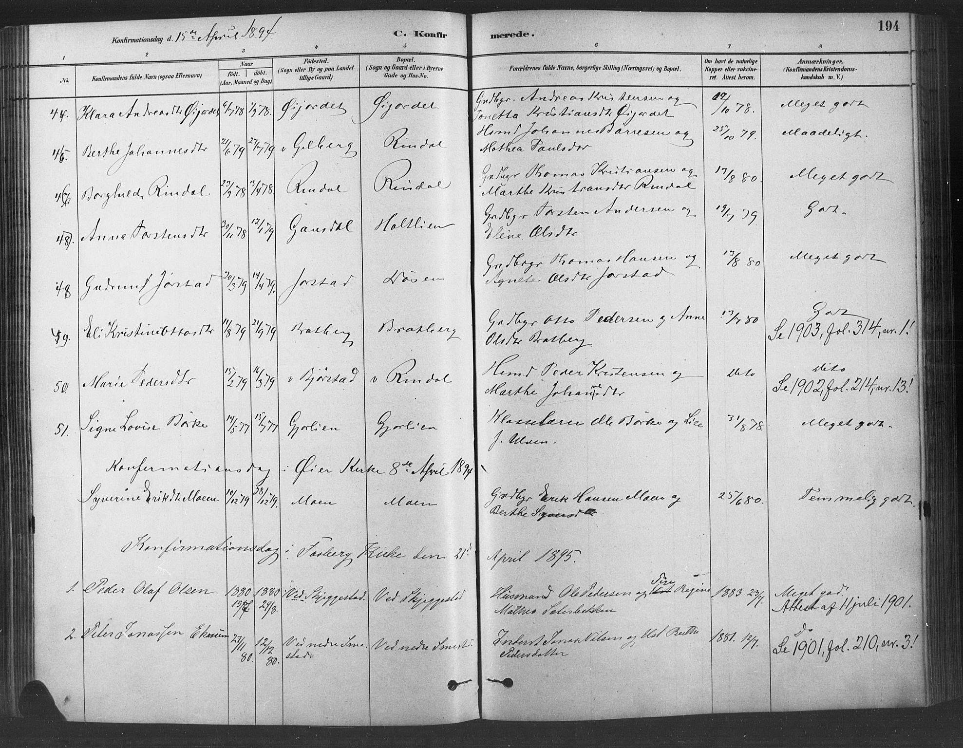 SAH, Fåberg prestekontor, Ministerialbok nr. 9, 1879-1898, s. 194
