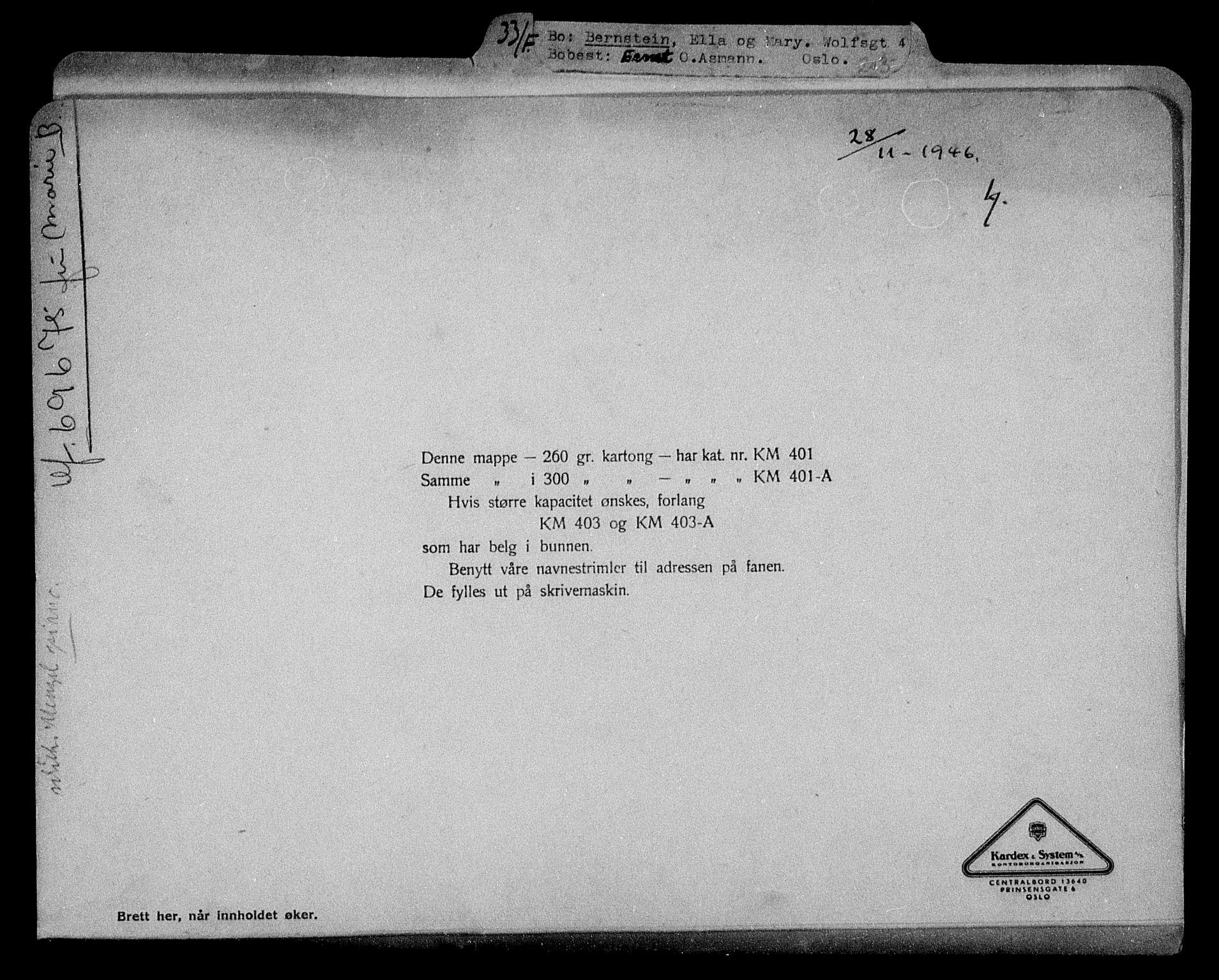 RA, Justisdepartementet, Tilbakeføringskontoret for inndratte formuer, H/Hc/Hcc/L0922: --, 1945-1947, s. 2