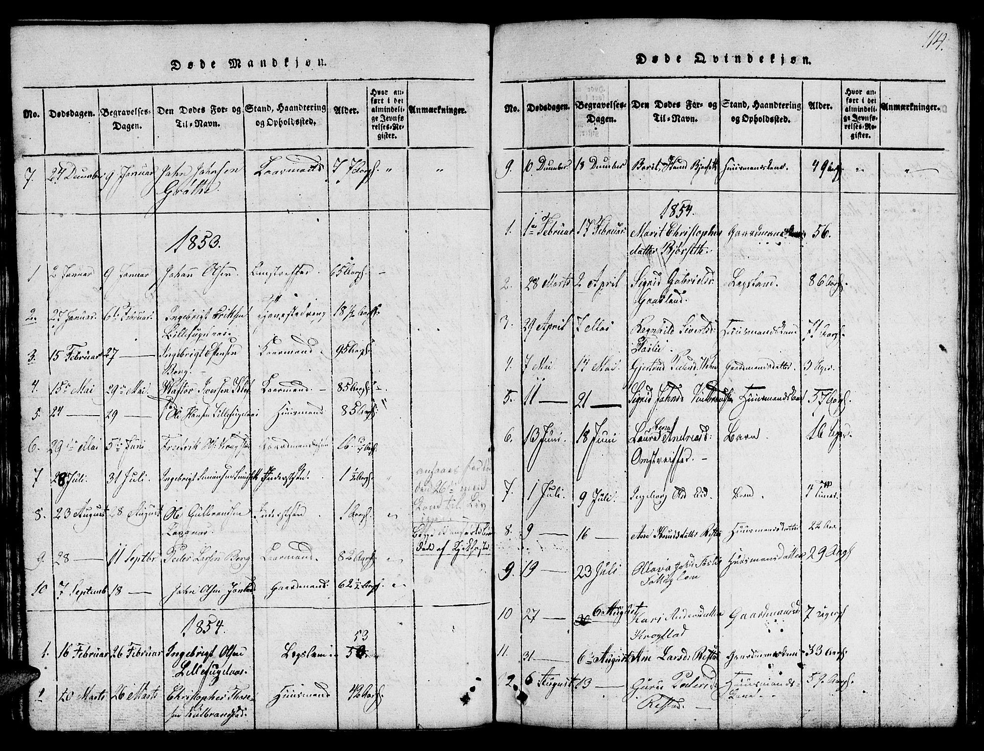 SAT, Ministerialprotokoller, klokkerbøker og fødselsregistre - Sør-Trøndelag, 694/L1130: Klokkerbok nr. 694C02, 1816-1857, s. 114