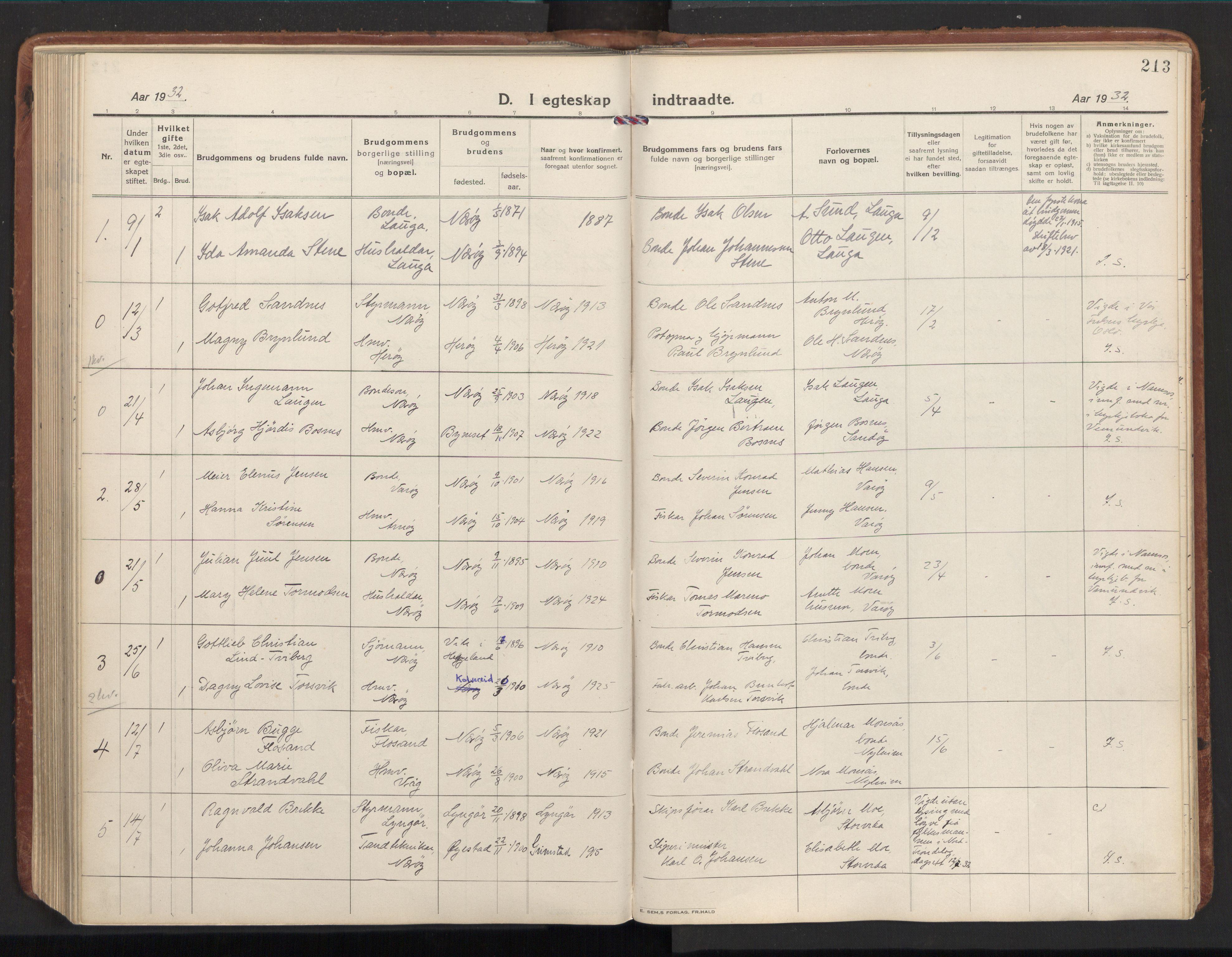 SAT, Ministerialprotokoller, klokkerbøker og fødselsregistre - Nord-Trøndelag, 784/L0678: Ministerialbok nr. 784A13, 1921-1938, s. 213