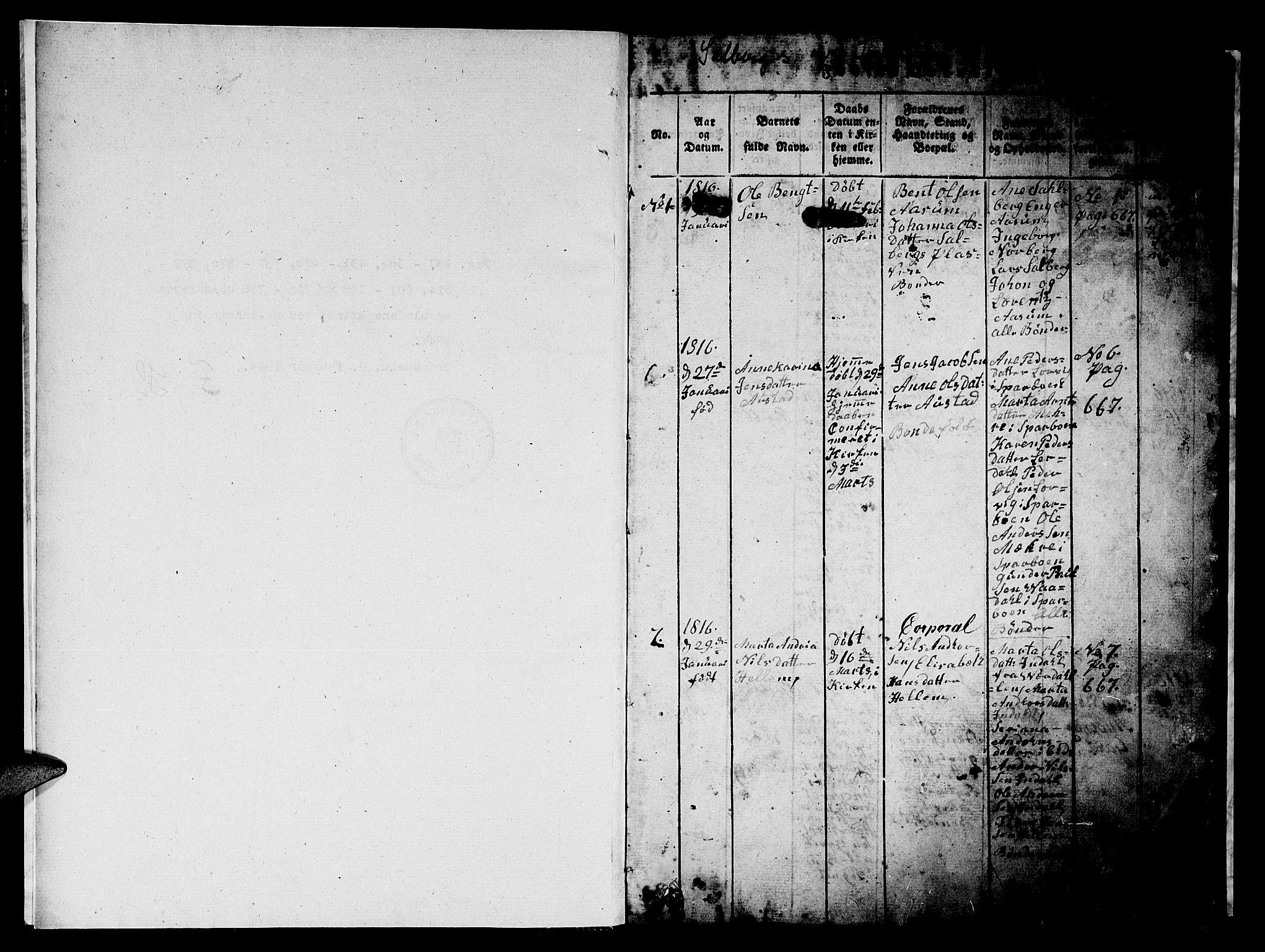 SAT, Ministerialprotokoller, klokkerbøker og fødselsregistre - Nord-Trøndelag, 731/L0310: Klokkerbok nr. 731C01, 1816-1874, s. 0-1