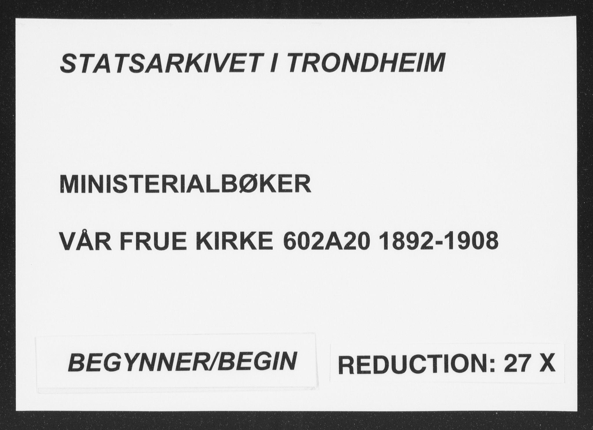 SAT, Ministerialprotokoller, klokkerbøker og fødselsregistre - Sør-Trøndelag, 602/L0122: Ministerialbok nr. 602A20, 1892-1908