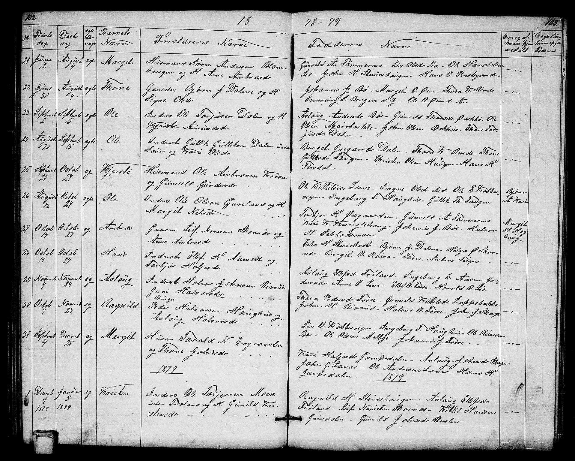 SAKO, Hjartdal kirkebøker, G/Gb/L0002: Klokkerbok nr. II 2, 1854-1884, s. 102-103