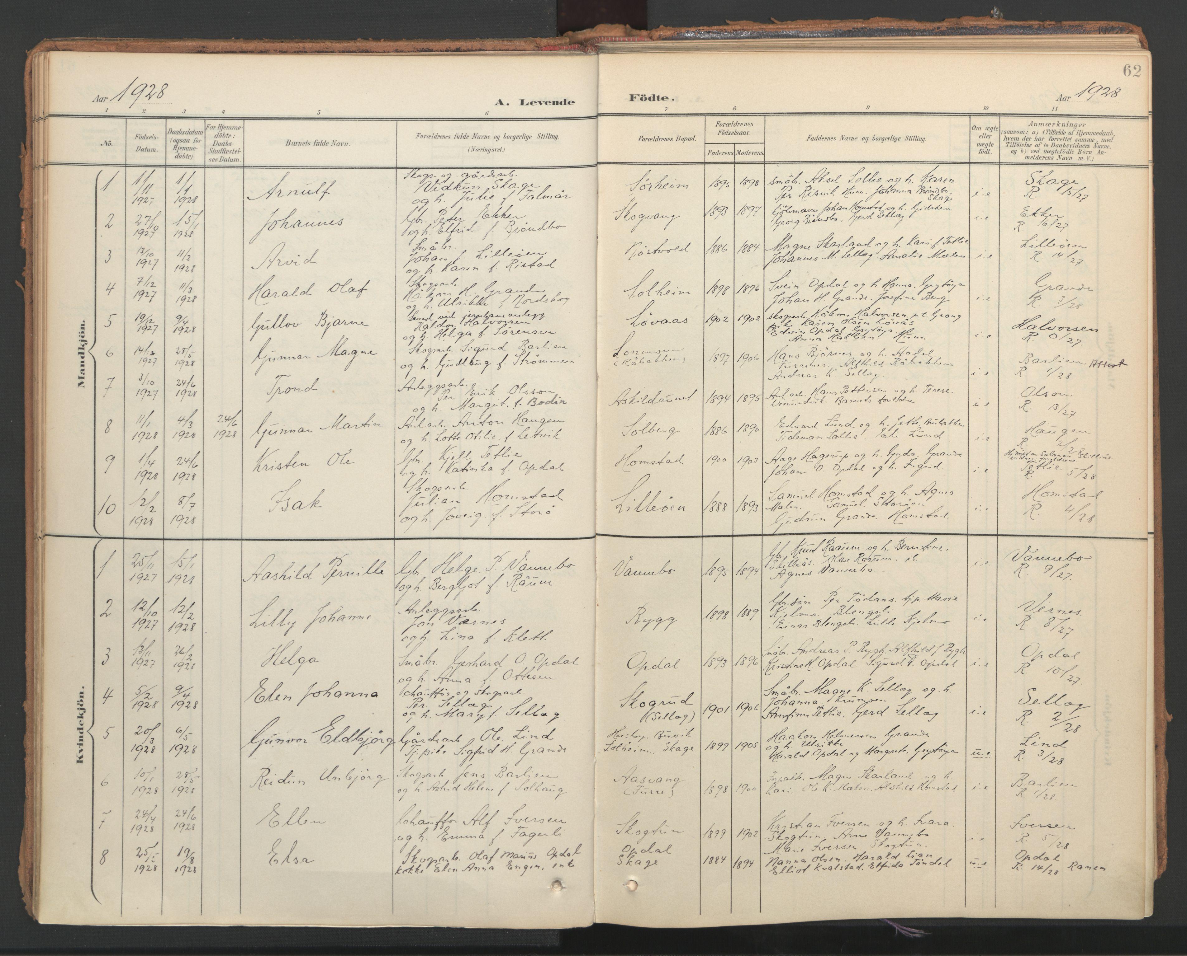 SAT, Ministerialprotokoller, klokkerbøker og fødselsregistre - Nord-Trøndelag, 766/L0564: Ministerialbok nr. 767A02, 1900-1932, s. 62