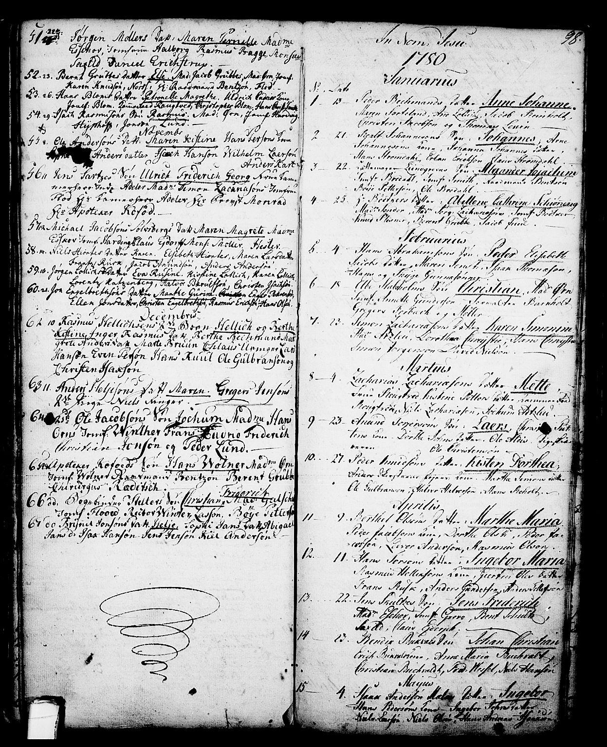 SAKO, Skien kirkebøker, G/Ga/L0001: Klokkerbok nr. 1, 1756-1791, s. 98