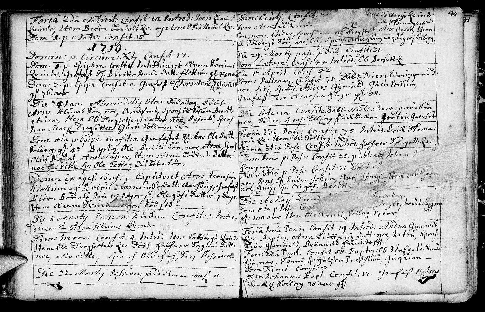 SAT, Ministerialprotokoller, klokkerbøker og fødselsregistre - Sør-Trøndelag, 689/L1036: Ministerialbok nr. 689A01, 1696-1746, s. 40
