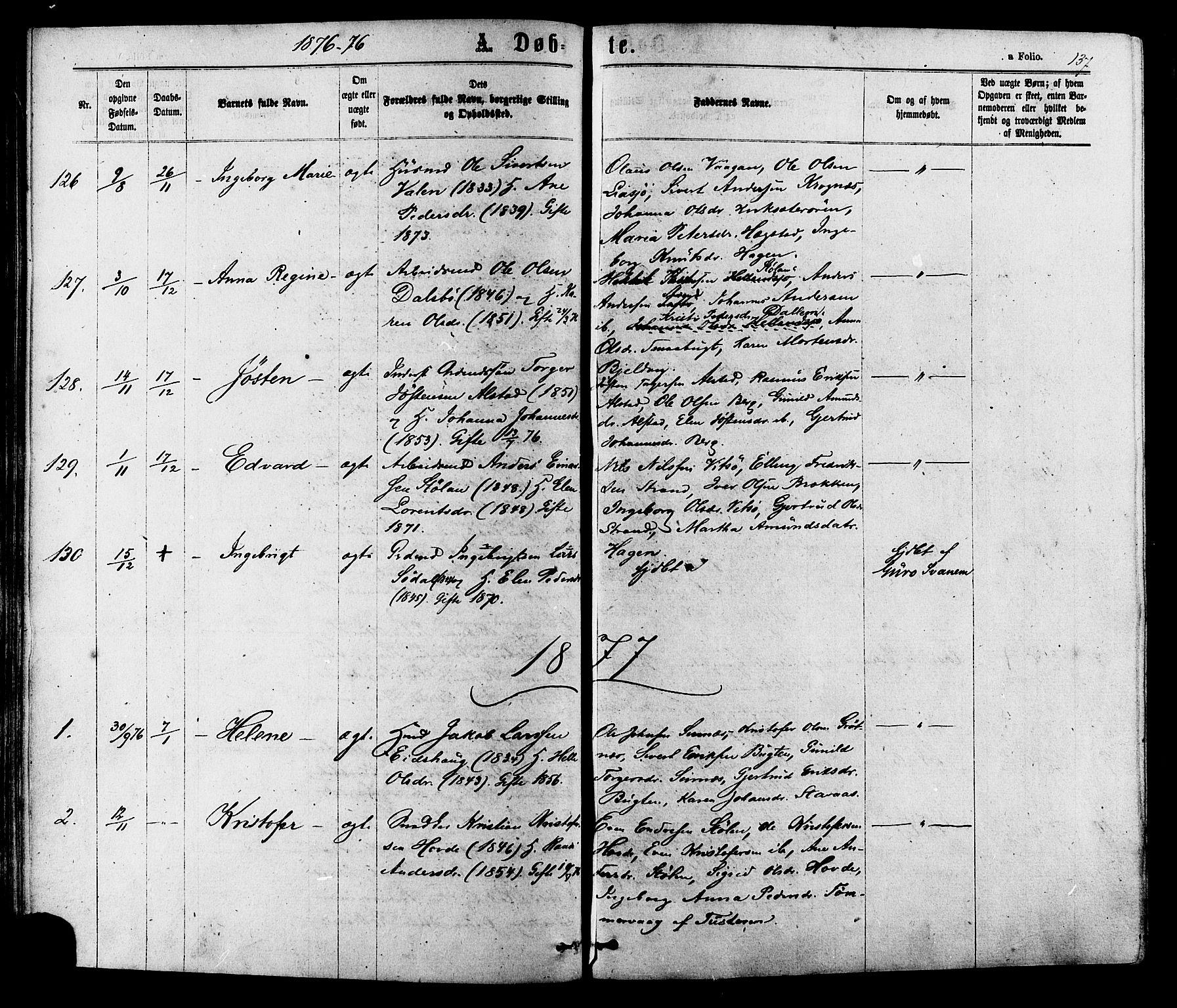 SAT, Ministerialprotokoller, klokkerbøker og fødselsregistre - Sør-Trøndelag, 630/L0495: Ministerialbok nr. 630A08, 1868-1878, s. 137