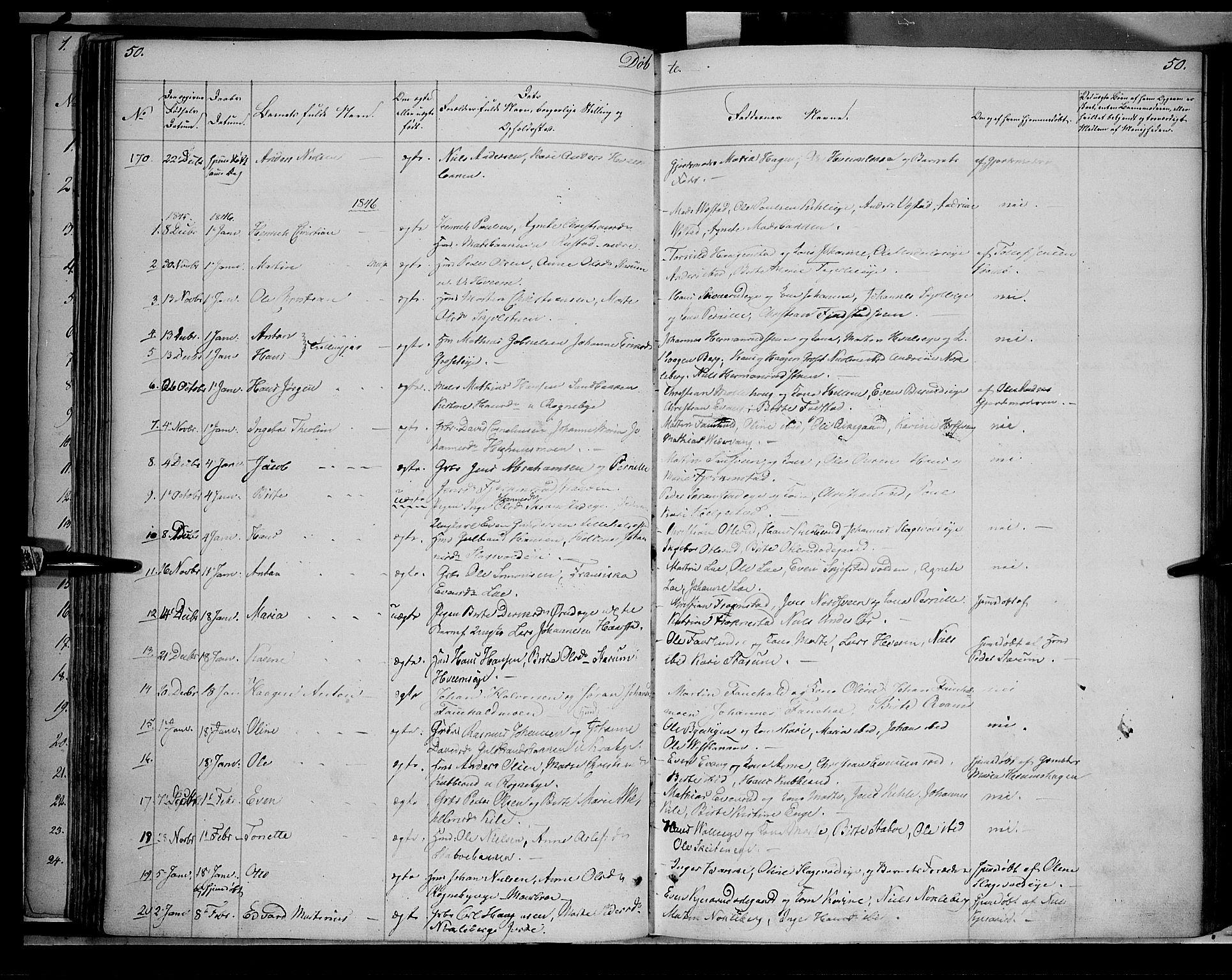 SAH, Østre Toten prestekontor, Ministerialbok nr. 2, 1840-1847, s. 50