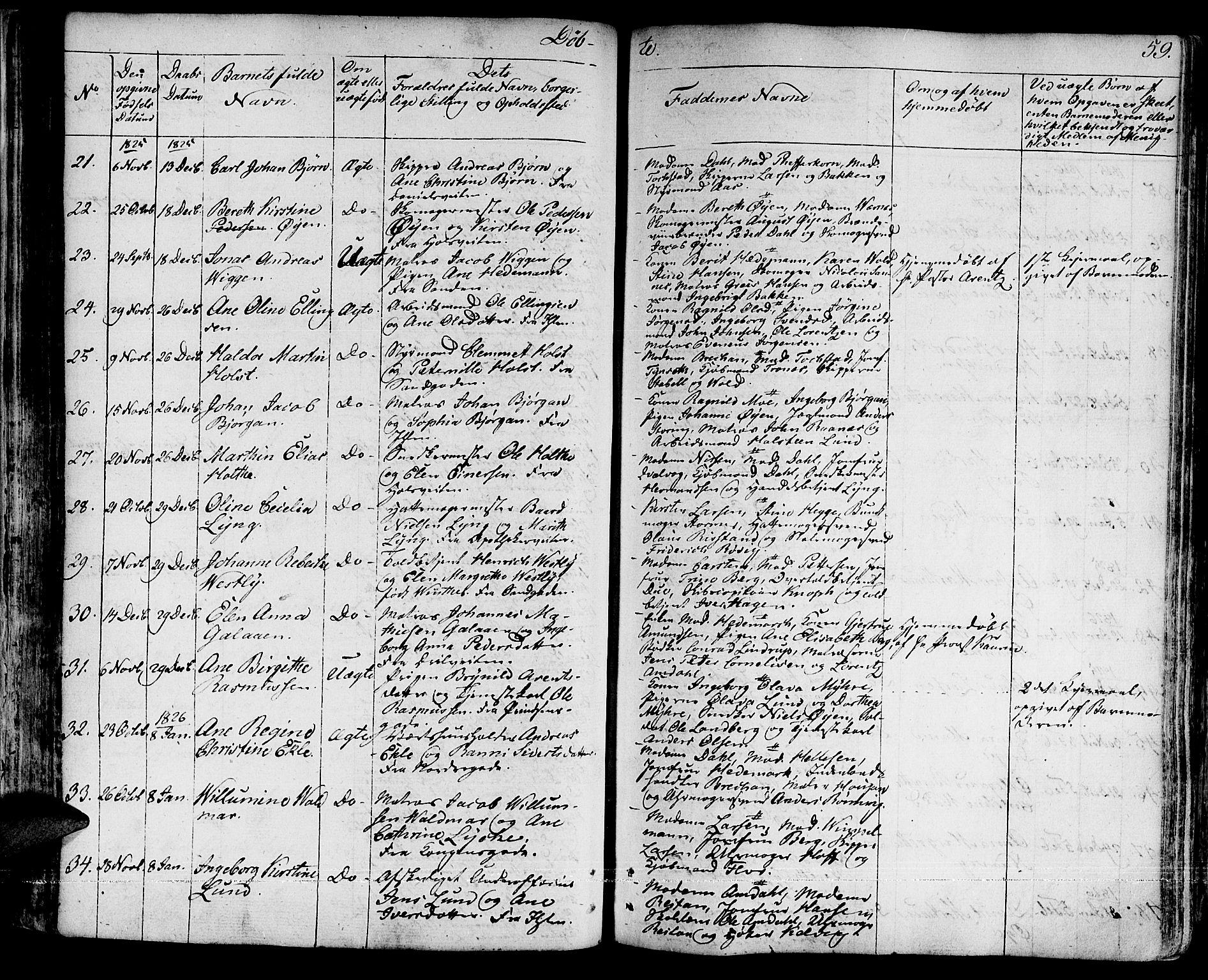 SAT, Ministerialprotokoller, klokkerbøker og fødselsregistre - Sør-Trøndelag, 601/L0045: Ministerialbok nr. 601A13, 1821-1831, s. 59
