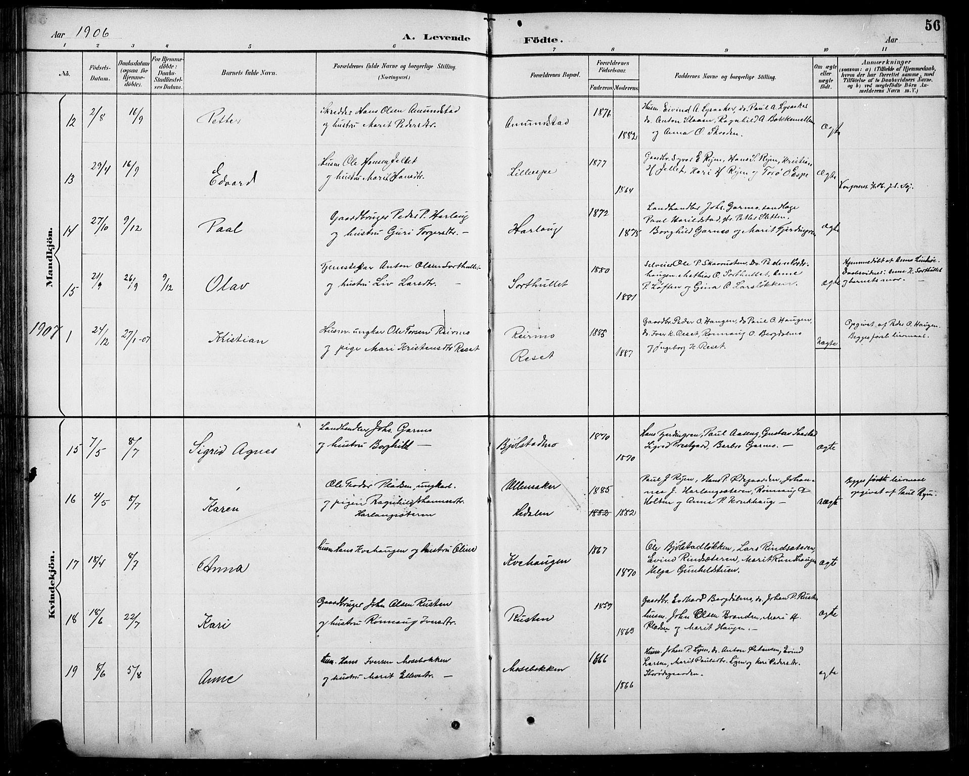 SAH, Sel prestekontor, Klokkerbok nr. 5, 1894-1923, s. 56