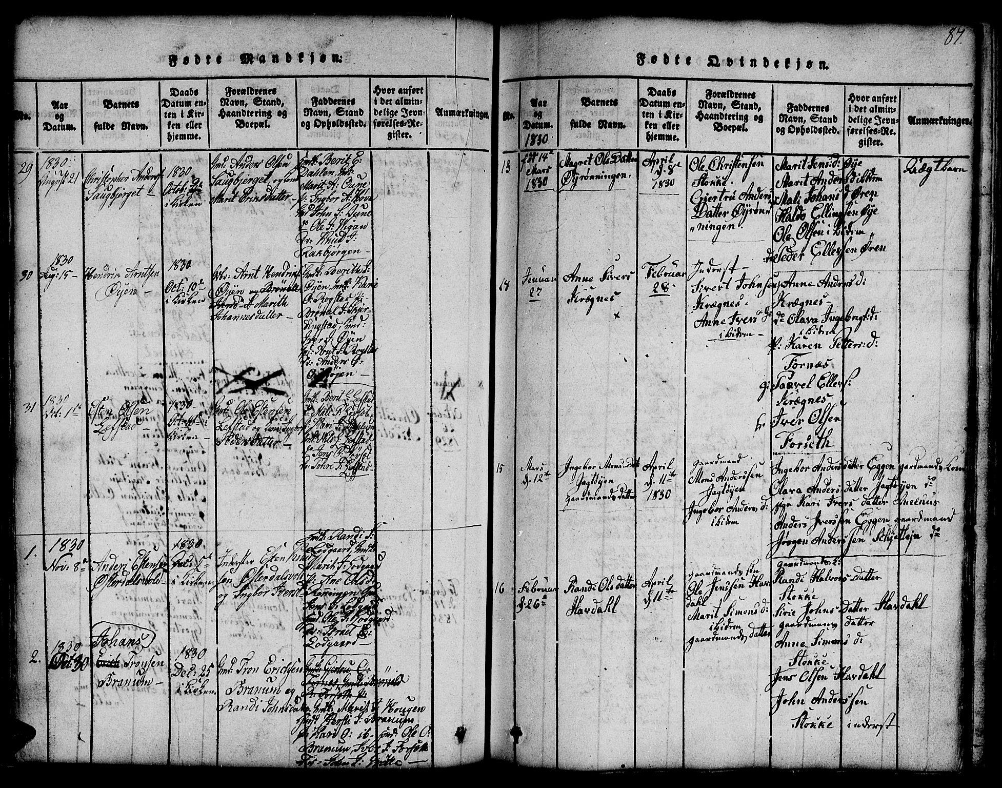 SAT, Ministerialprotokoller, klokkerbøker og fødselsregistre - Sør-Trøndelag, 691/L1092: Klokkerbok nr. 691C03, 1816-1852, s. 87