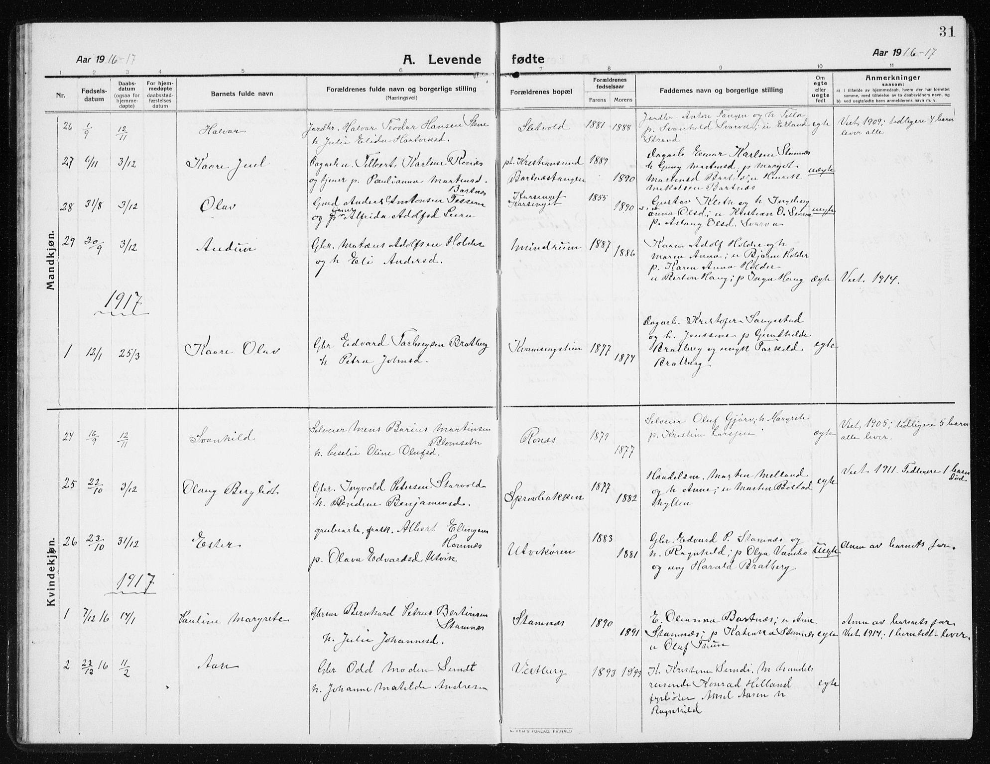 SAT, Ministerialprotokoller, klokkerbøker og fødselsregistre - Nord-Trøndelag, 741/L0402: Klokkerbok nr. 741C03, 1911-1926, s. 31