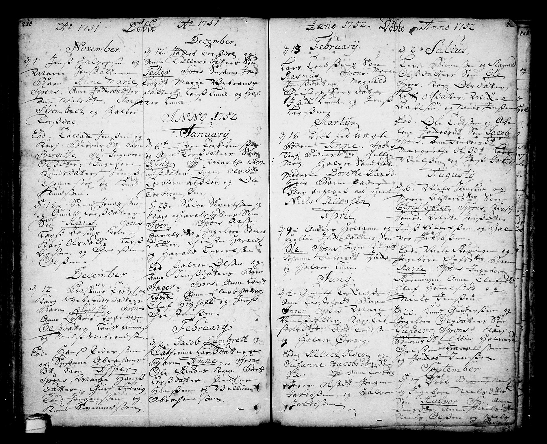 SAKO, Sannidal kirkebøker, F/Fa/L0001: Ministerialbok nr. 1, 1702-1766, s. 210-211