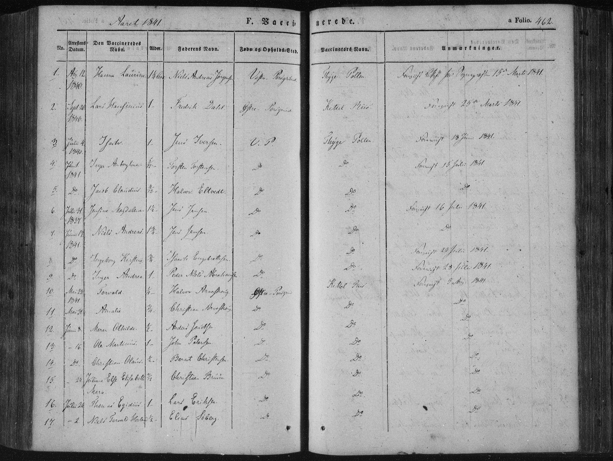 SAKO, Porsgrunn kirkebøker , F/Fa/L0006: Ministerialbok nr. 6, 1841-1857, s. 462