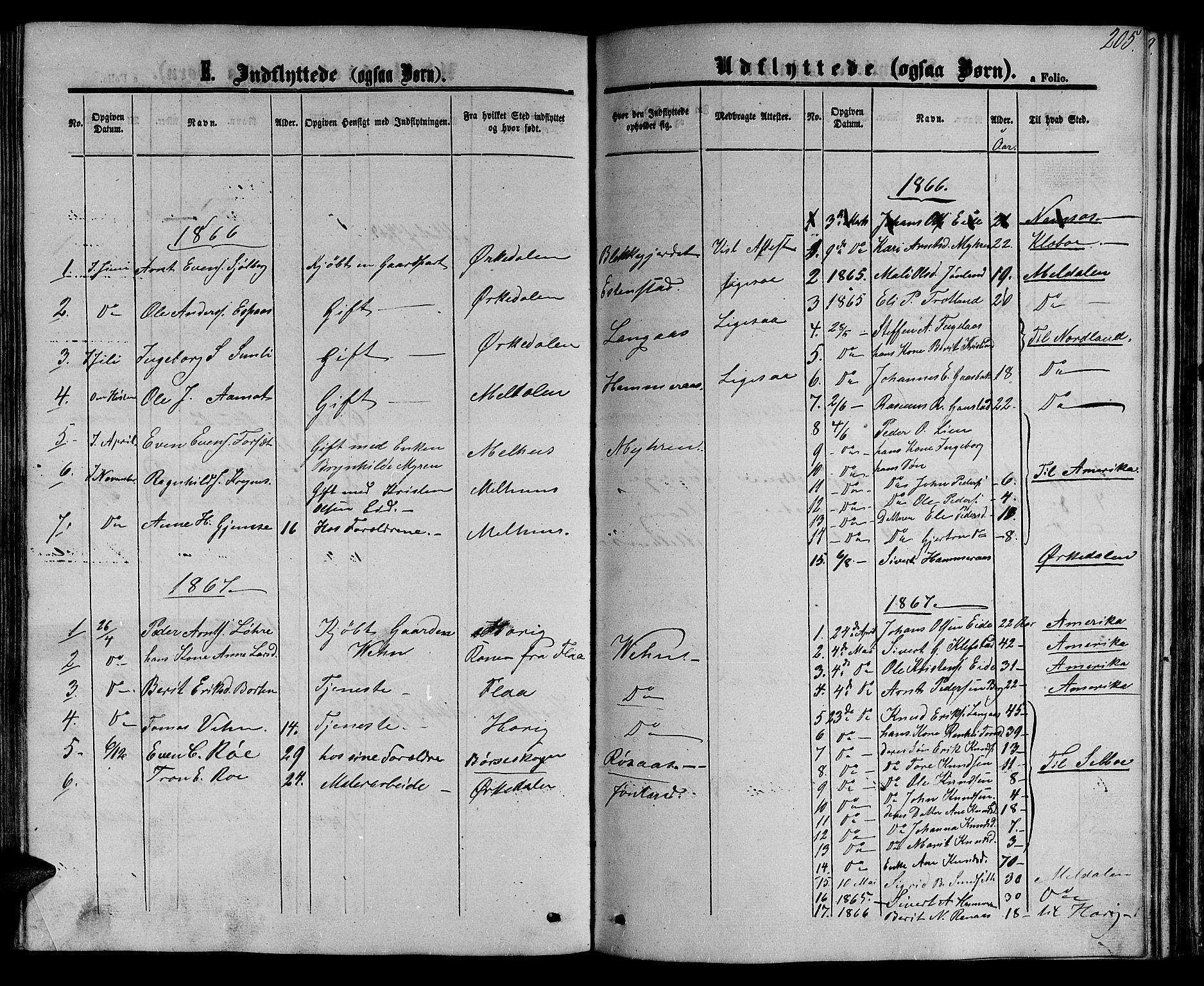 SAT, Ministerialprotokoller, klokkerbøker og fødselsregistre - Sør-Trøndelag, 694/L1131: Klokkerbok nr. 694C03, 1858-1886, s. 205