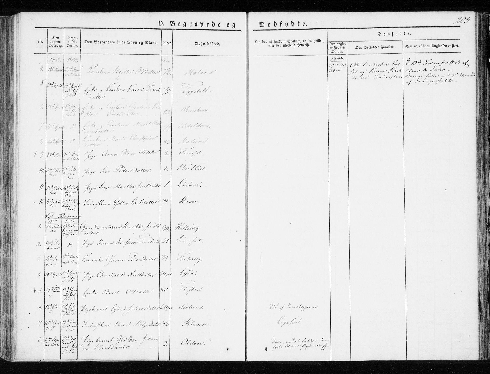SAT, Ministerialprotokoller, klokkerbøker og fødselsregistre - Sør-Trøndelag, 655/L0676: Ministerialbok nr. 655A05, 1830-1847, s. 203