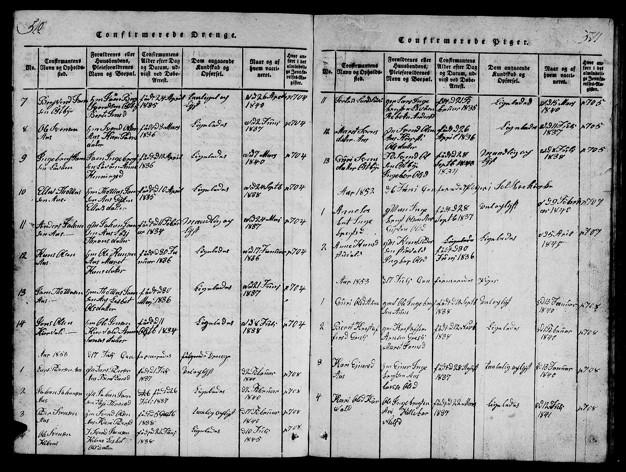 SAT, Ministerialprotokoller, klokkerbøker og fødselsregistre - Sør-Trøndelag, 698/L1164: Klokkerbok nr. 698C01, 1816-1861, s. 510-511