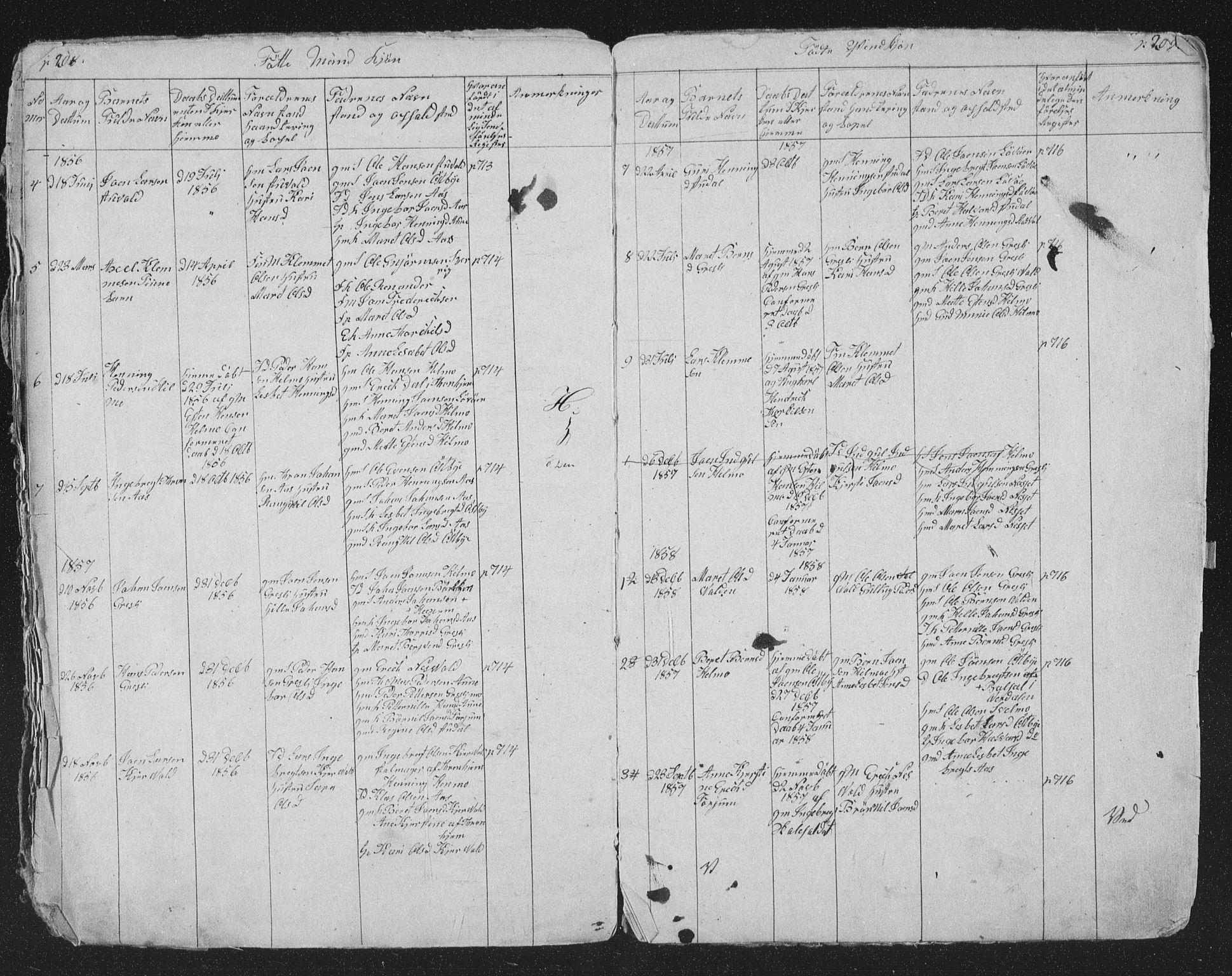 SAT, Ministerialprotokoller, klokkerbøker og fødselsregistre - Sør-Trøndelag, 698/L1165: Klokkerbok nr. 698C02, 1851-1861, s. 208-209