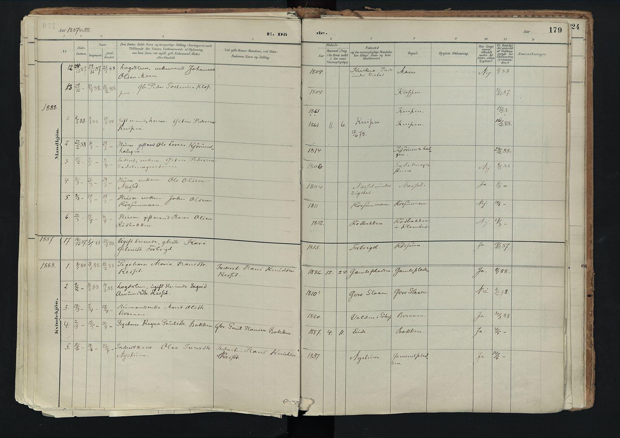 SAH, Nord-Fron prestekontor, Ministerialbok nr. 3, 1884-1914, s. 179
