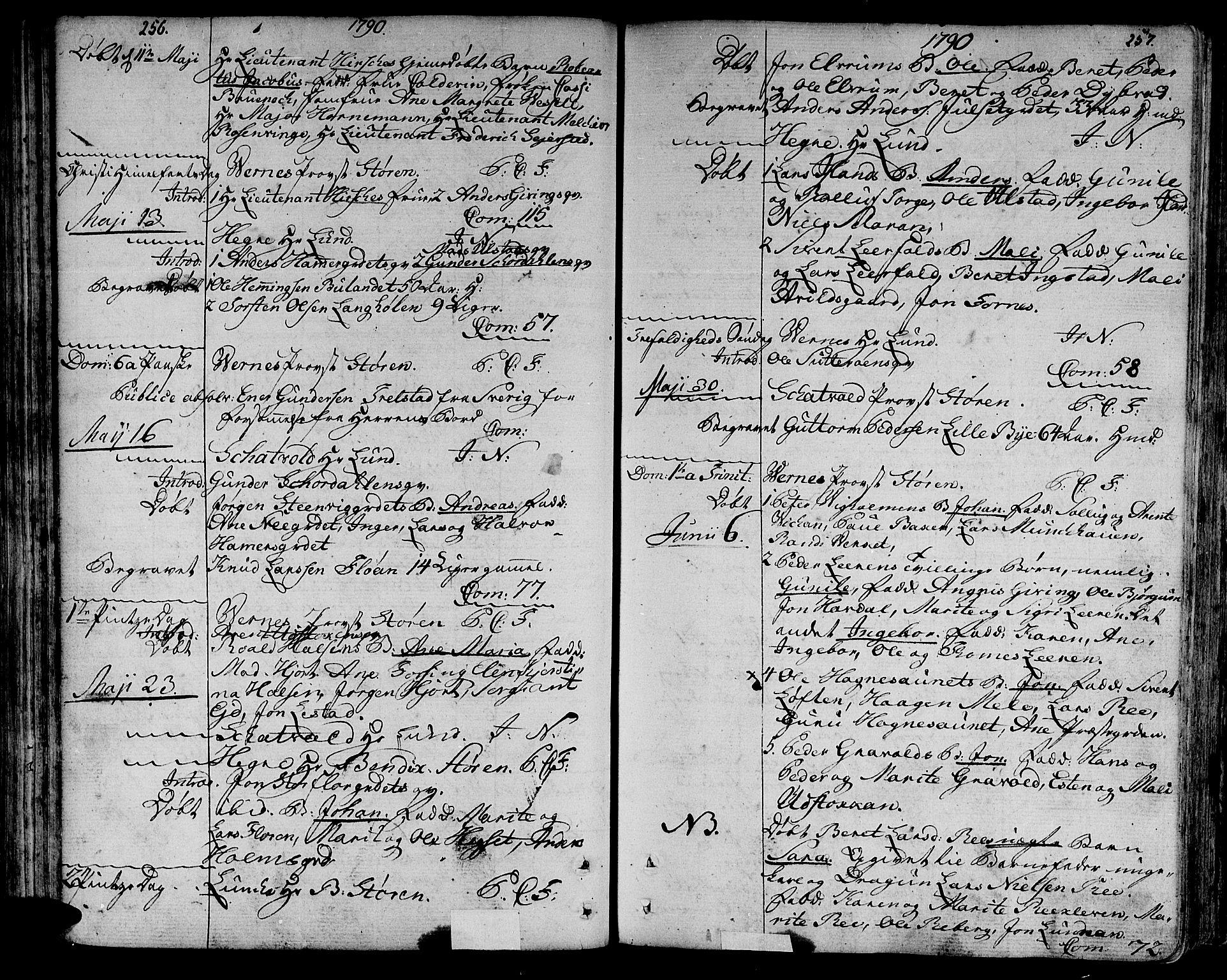 SAT, Ministerialprotokoller, klokkerbøker og fødselsregistre - Nord-Trøndelag, 709/L0059: Ministerialbok nr. 709A06, 1781-1797, s. 256-257