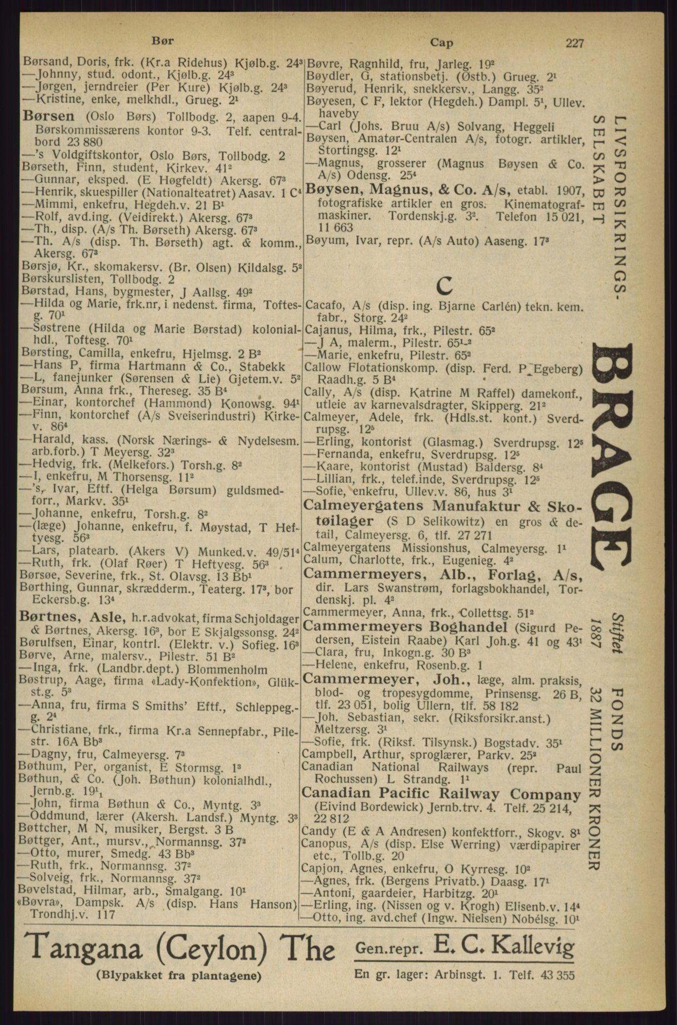 RA, Oslo adressebok (publikasjon)*, 1927, s. 227