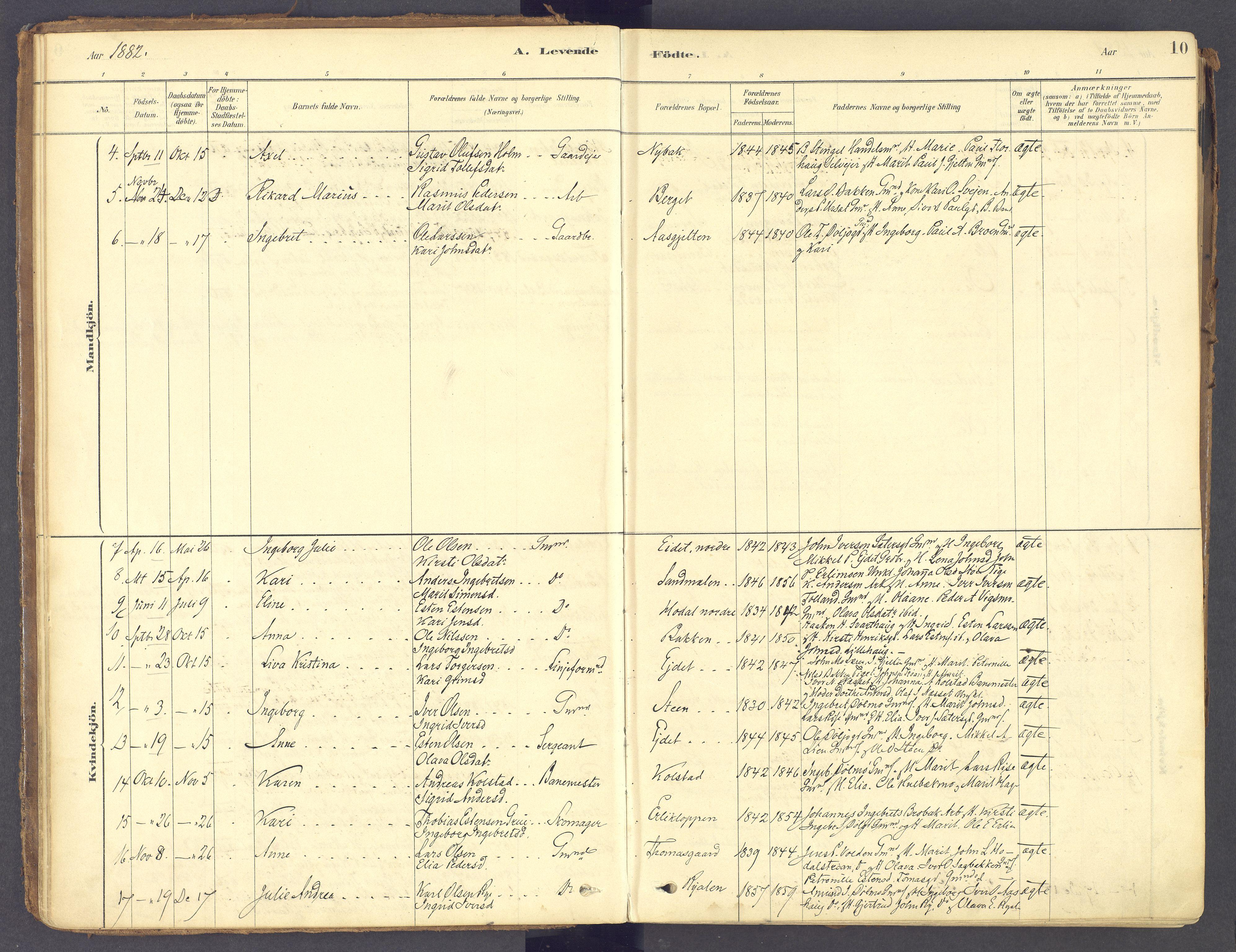 SAH, Tolga prestekontor, K/L0011: Ministerialbok nr. 11, 1877-1920, s. 10