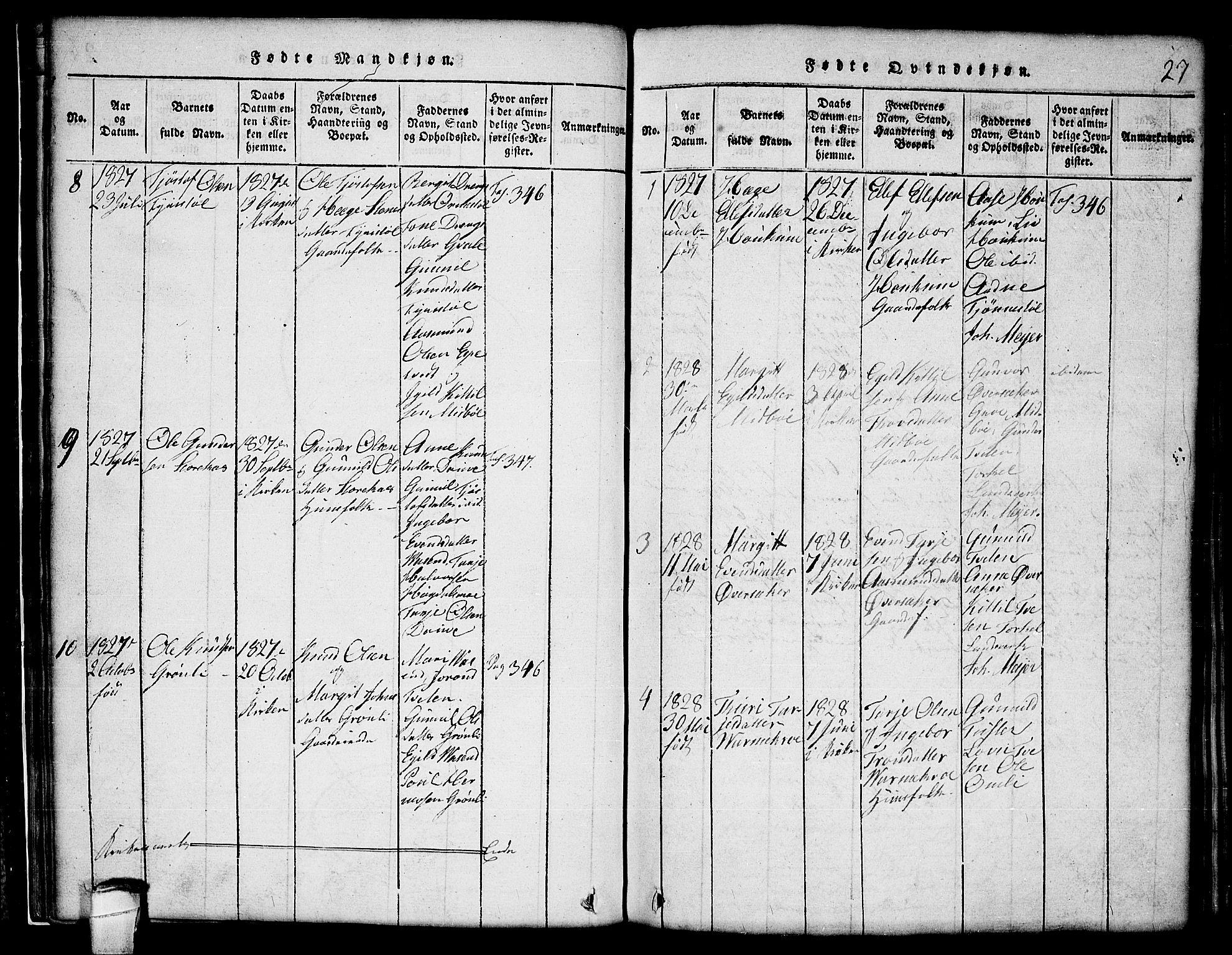 SAKO, Lårdal kirkebøker, G/Gc/L0001: Klokkerbok nr. III 1, 1815-1854, s. 27