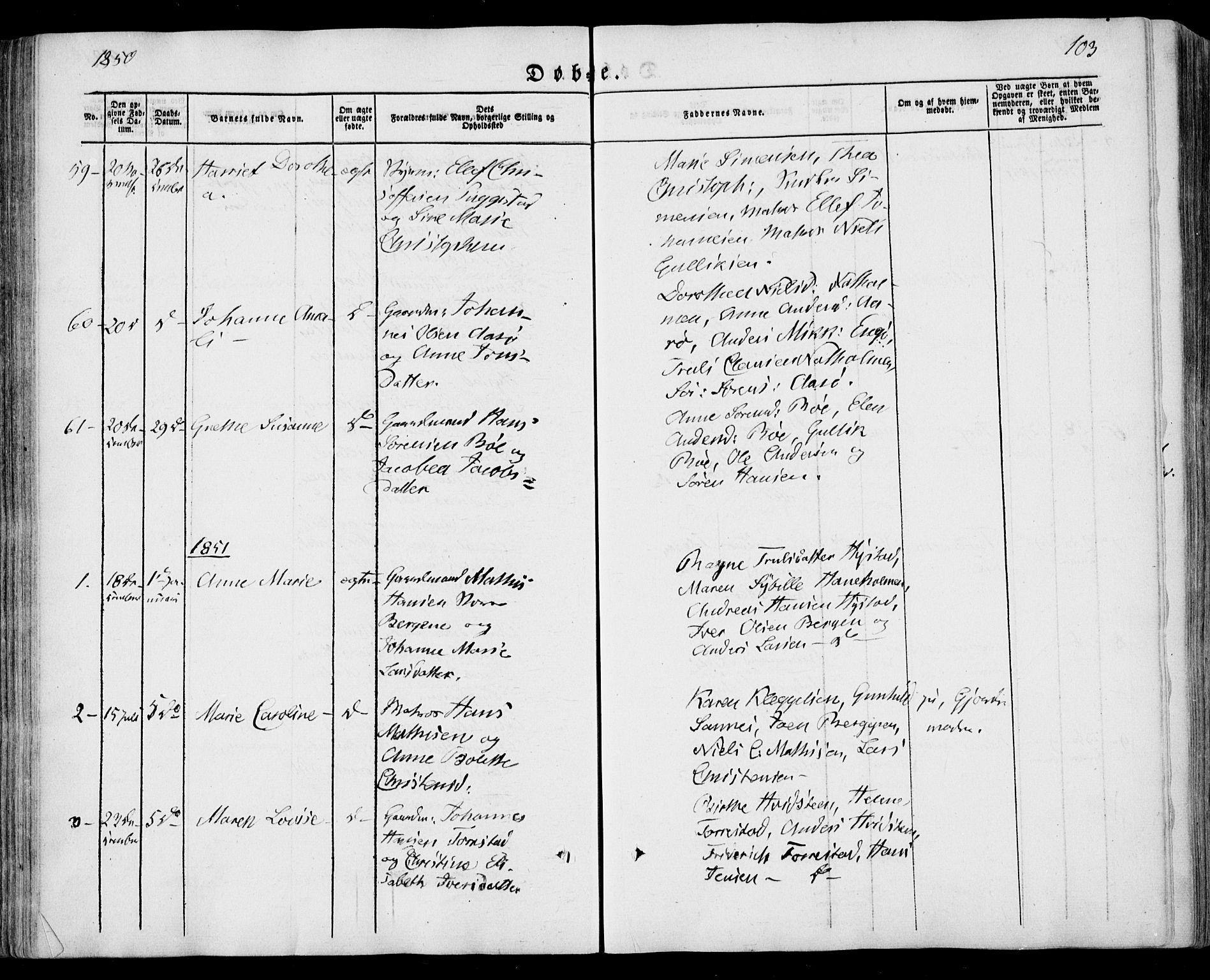 SAKO, Sandar kirkebøker, F/Fa/L0006: Ministerialbok nr. 6, 1847-1860, s. 103