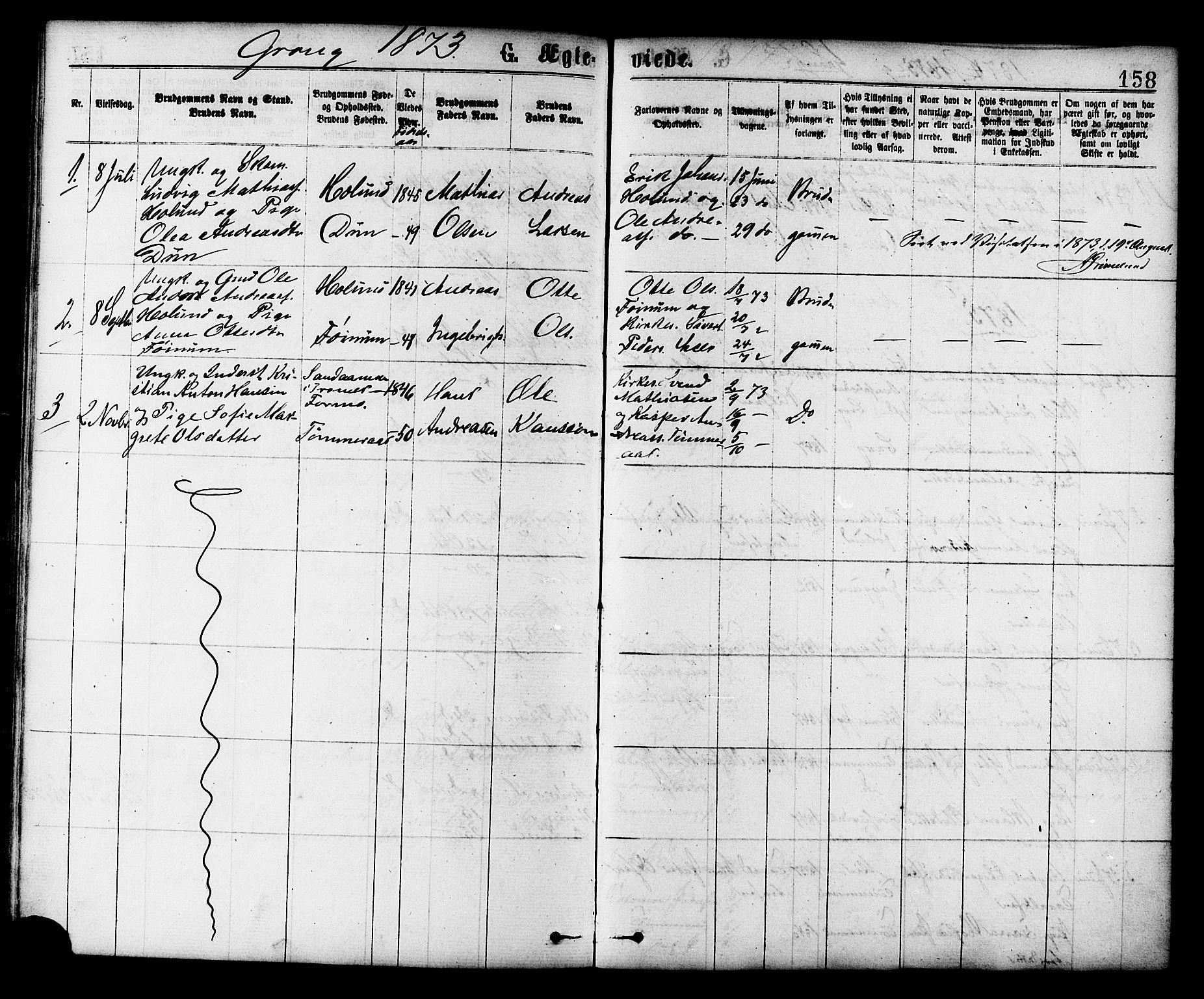 SAT, Ministerialprotokoller, klokkerbøker og fødselsregistre - Nord-Trøndelag, 758/L0516: Ministerialbok nr. 758A03 /1, 1869-1879, s. 158