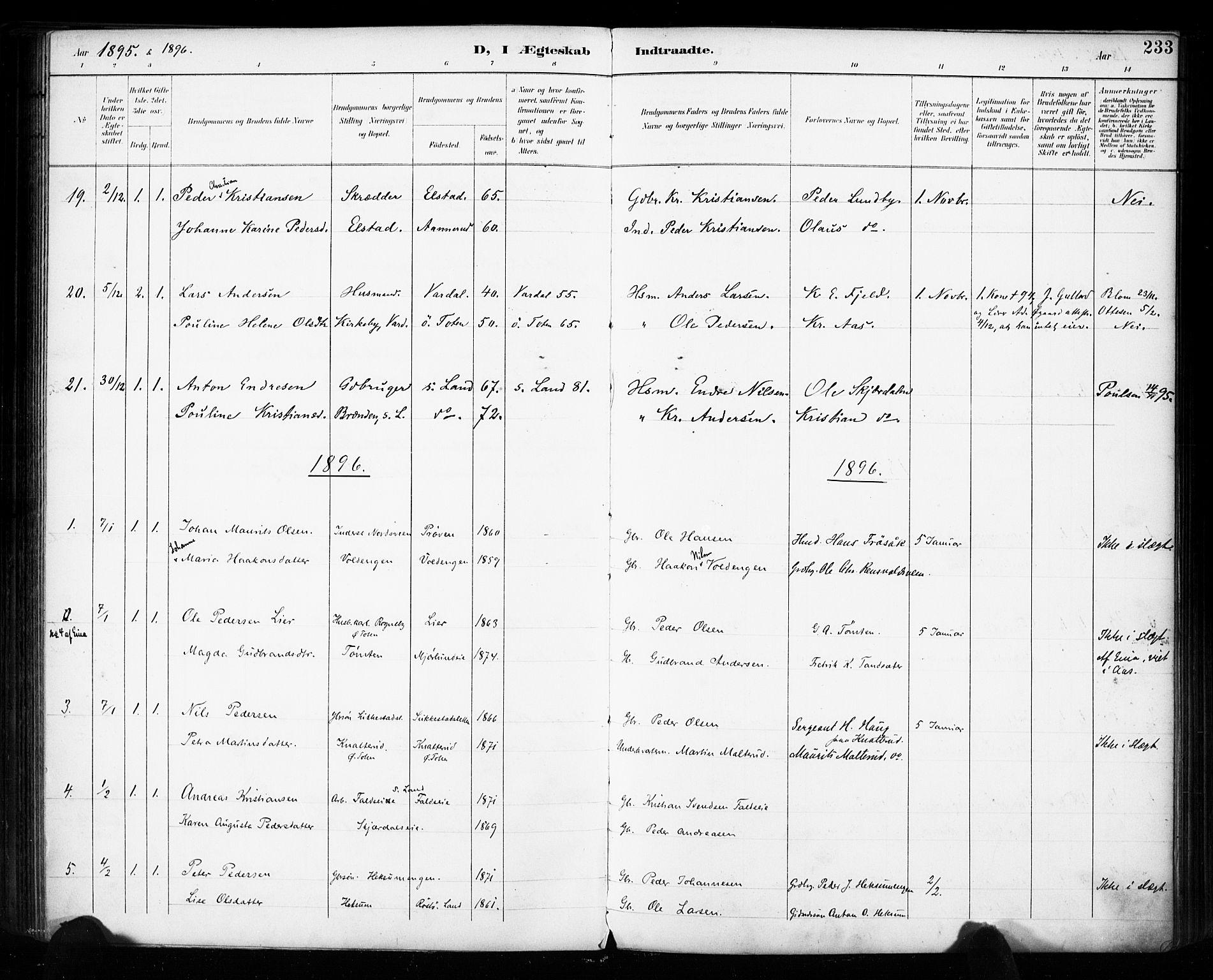SAH, Vestre Toten prestekontor, H/Ha/Haa/L0011: Ministerialbok nr. 11, 1895-1906, s. 233