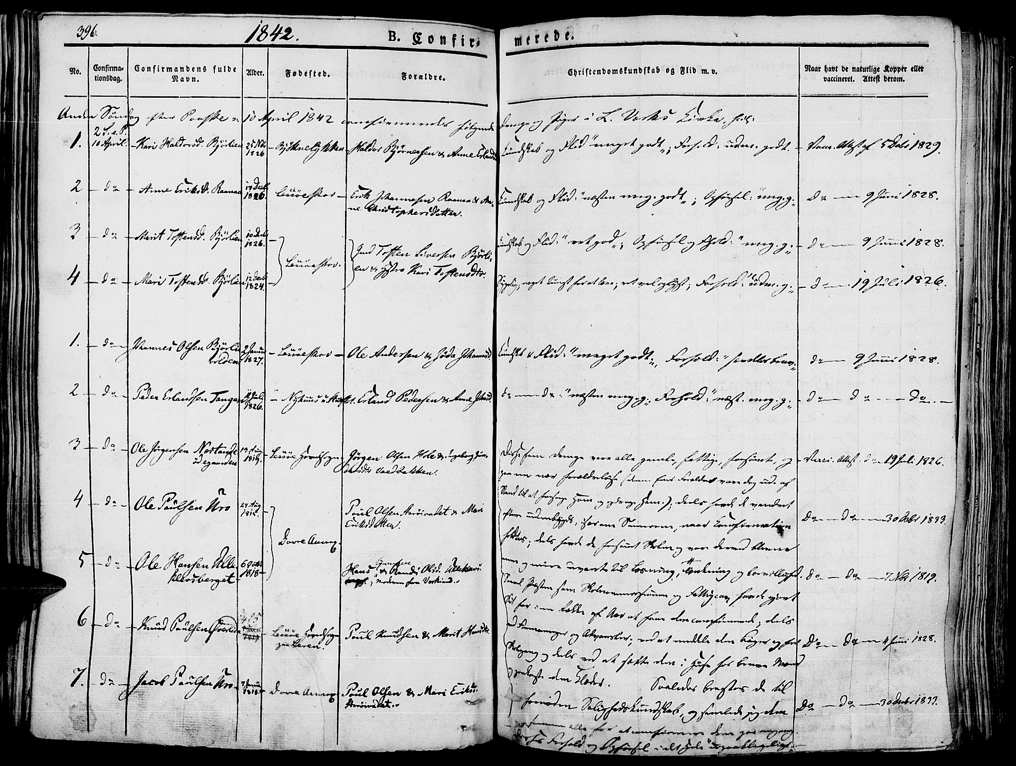 SAH, Lesja prestekontor, Ministerialbok nr. 5, 1830-1842, s. 396