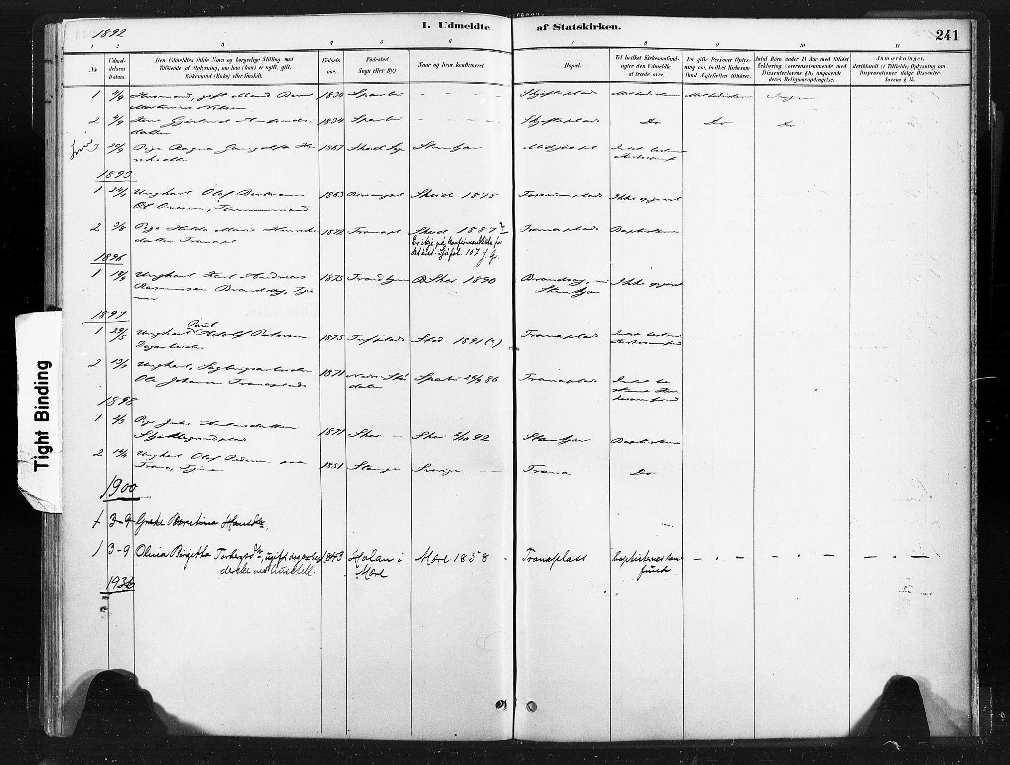SAT, Ministerialprotokoller, klokkerbøker og fødselsregistre - Nord-Trøndelag, 736/L0361: Ministerialbok nr. 736A01, 1884-1906, s. 241