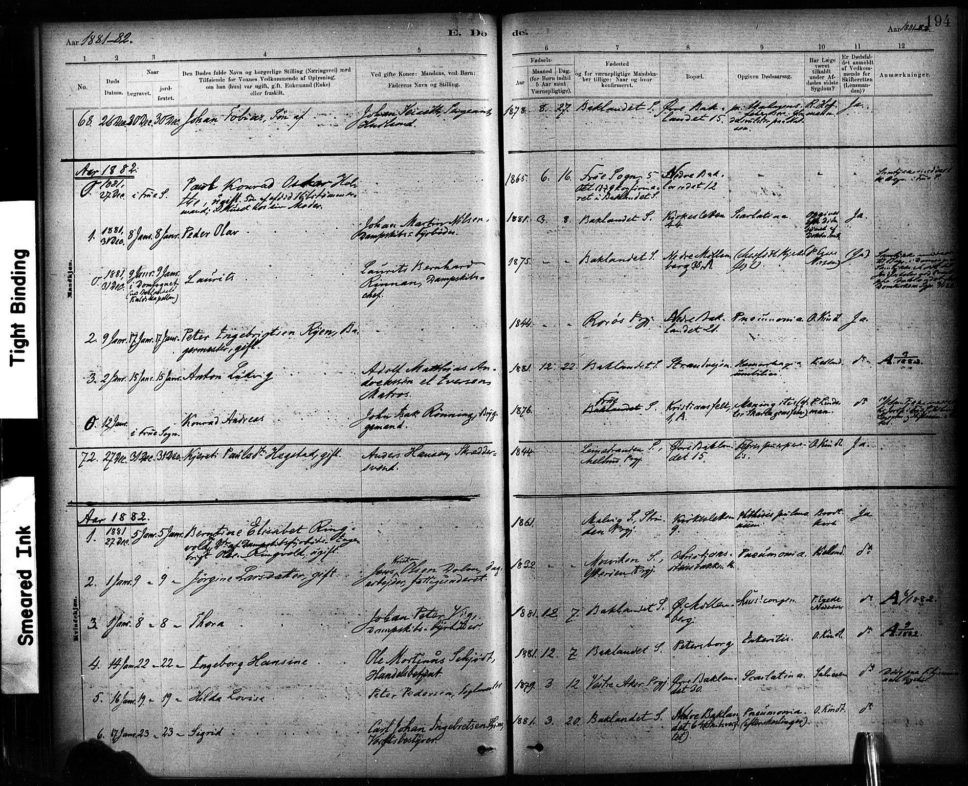 SAT, Ministerialprotokoller, klokkerbøker og fødselsregistre - Sør-Trøndelag, 604/L0189: Ministerialbok nr. 604A10, 1878-1892, s. 194