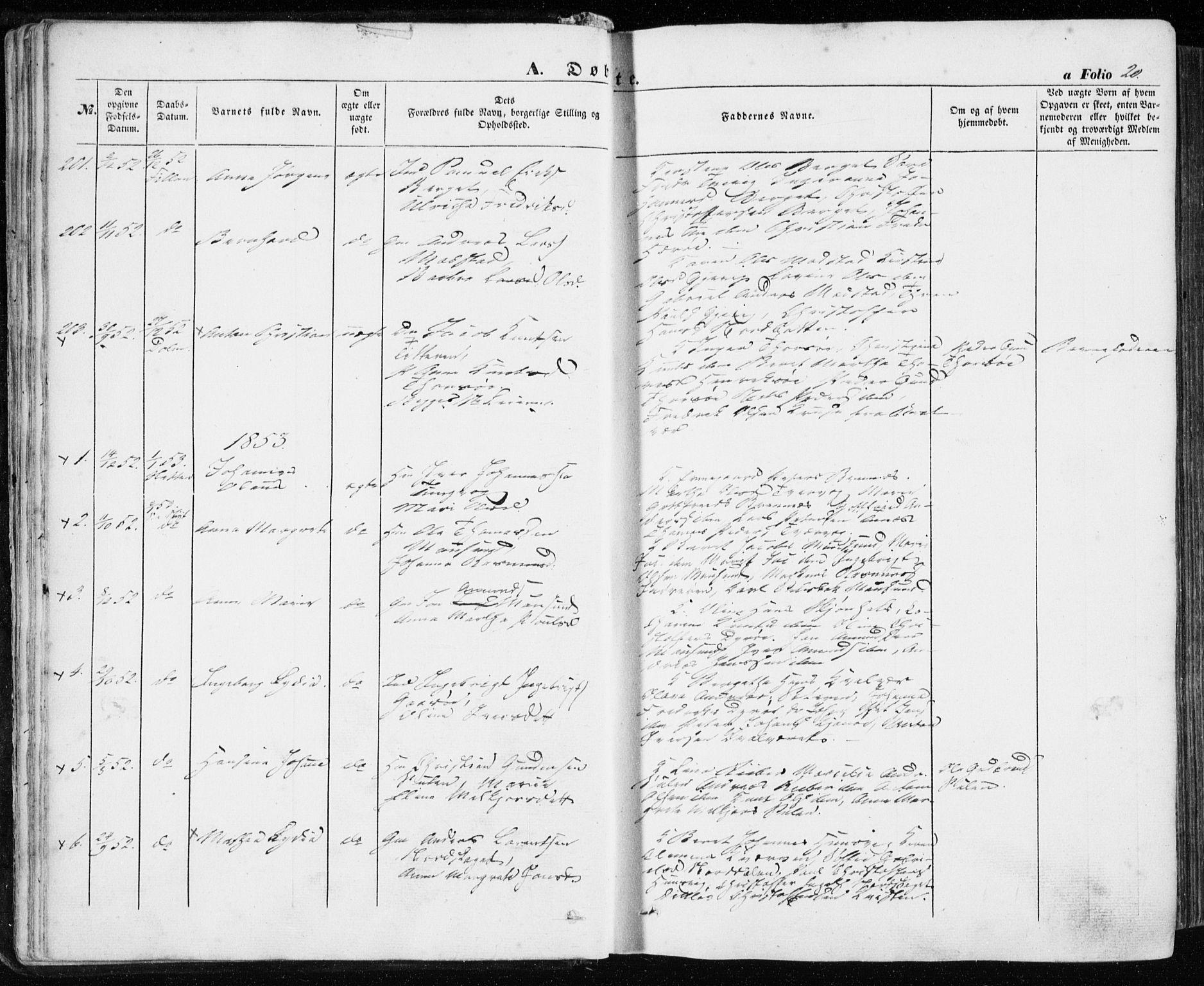 SAT, Ministerialprotokoller, klokkerbøker og fødselsregistre - Sør-Trøndelag, 634/L0530: Ministerialbok nr. 634A06, 1852-1860, s. 20