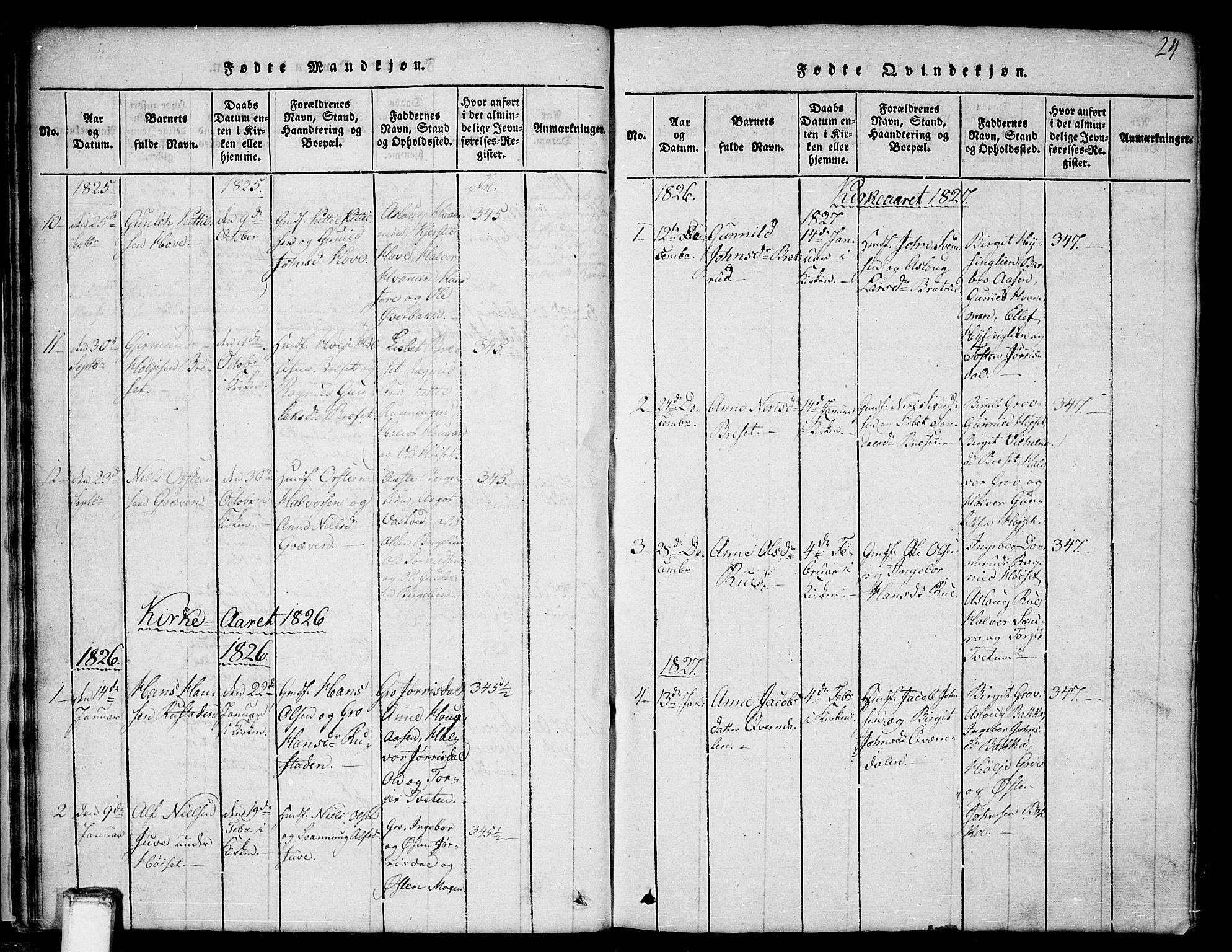 SAKO, Gransherad kirkebøker, G/Gb/L0001: Klokkerbok nr. II 1, 1815-1860, s. 24