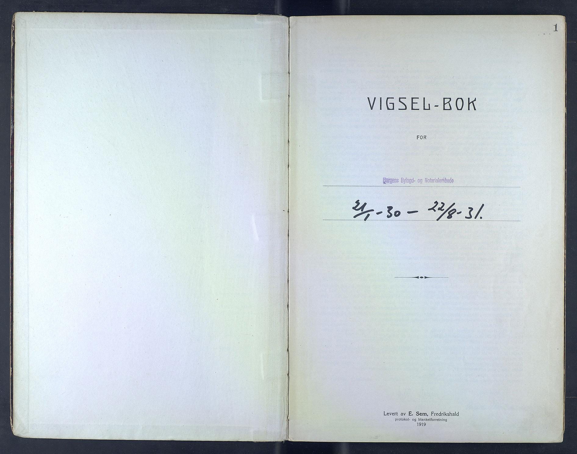 SAB, Bergen byfogd og byskriver*, 1930-1931, s. 1a