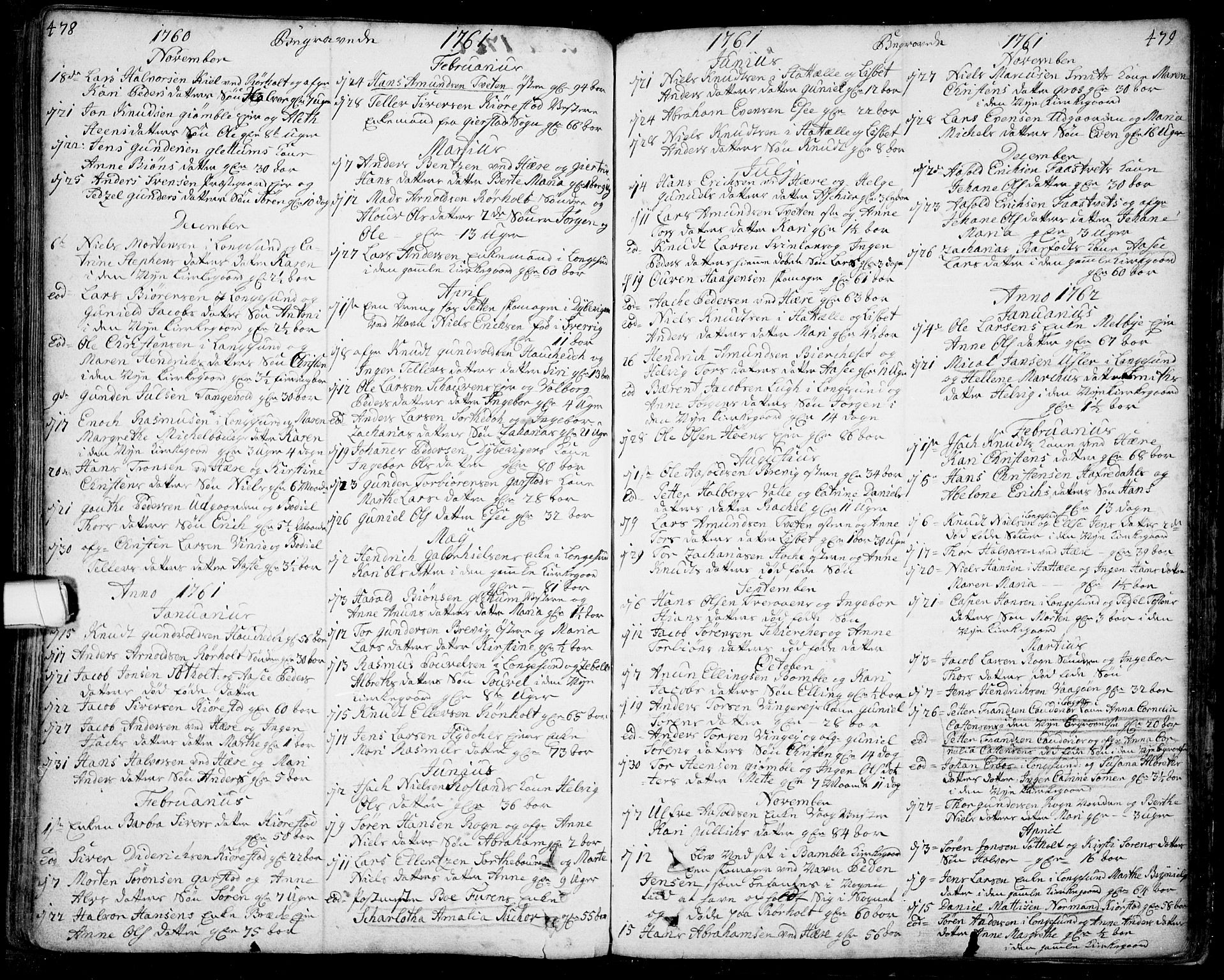 SAKO, Bamble kirkebøker, F/Fa/L0001: Ministerialbok nr. I 1, 1702-1774, s. 478-479