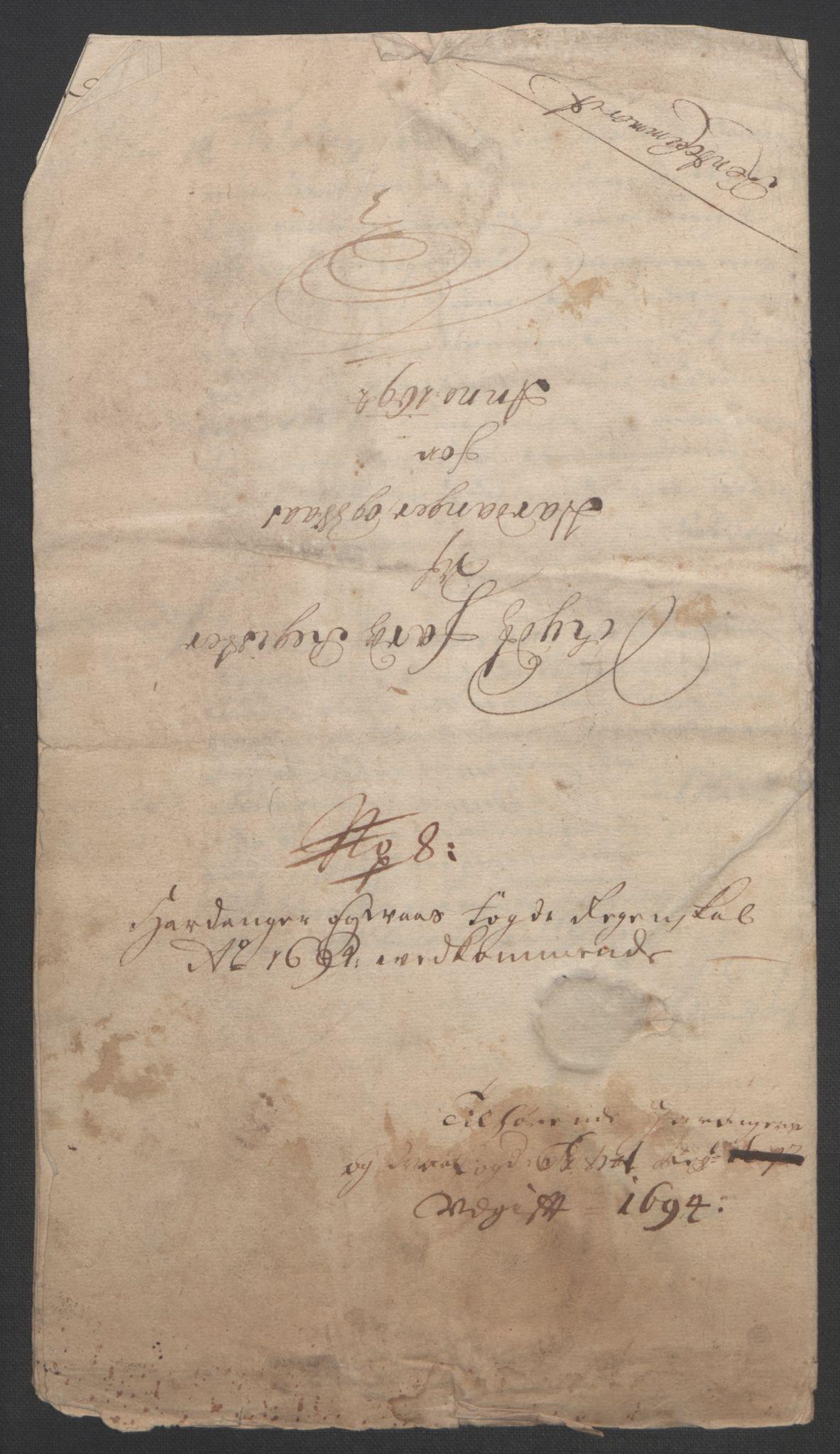 RA, Rentekammeret inntil 1814, Reviderte regnskaper, Fogderegnskap, R48/L2975: Fogderegnskap Sunnhordland og Hardanger, 1694, s. 348