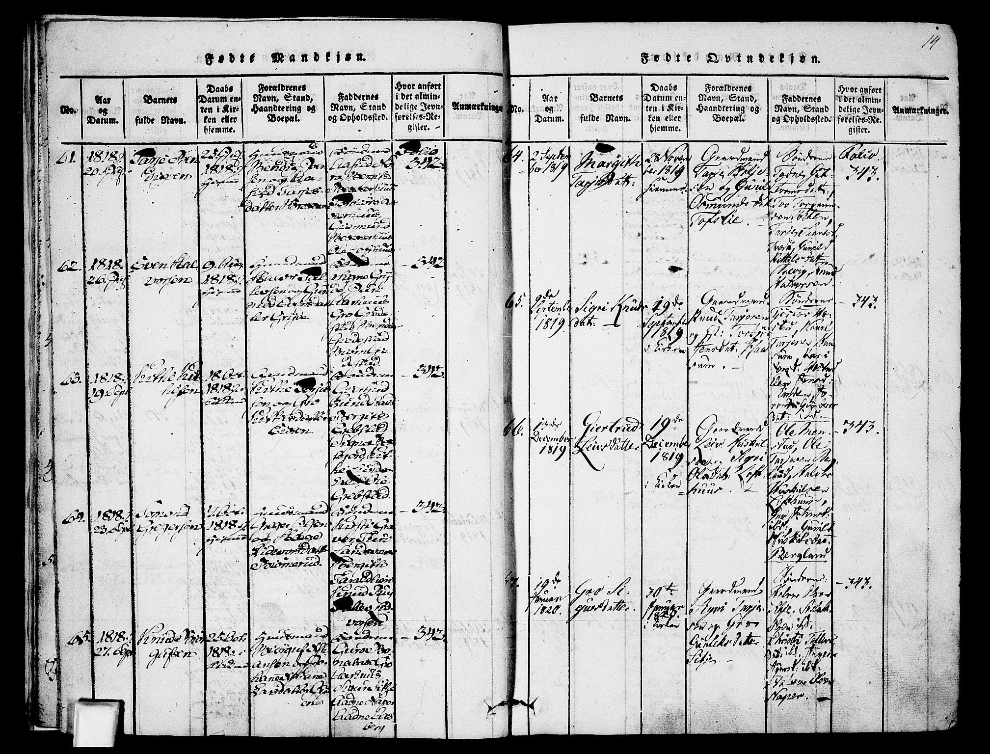 SAKO, Fyresdal kirkebøker, F/Fa/L0003: Ministerialbok nr. I 3, 1815-1840, s. 14