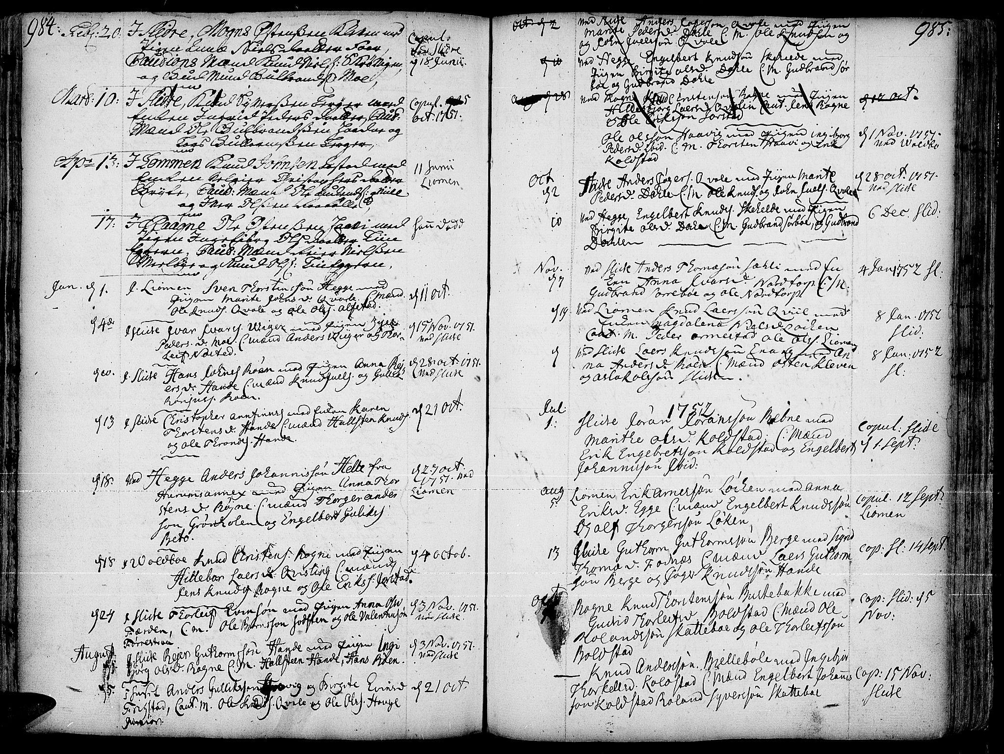 SAH, Slidre prestekontor, Ministerialbok nr. 1, 1724-1814, s. 984-985