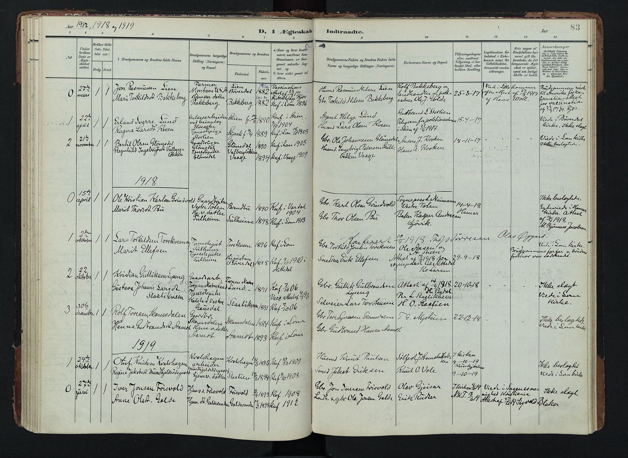 SAH, Lom prestekontor, K/L0012: Ministerialbok nr. 12, 1904-1928, s. 83